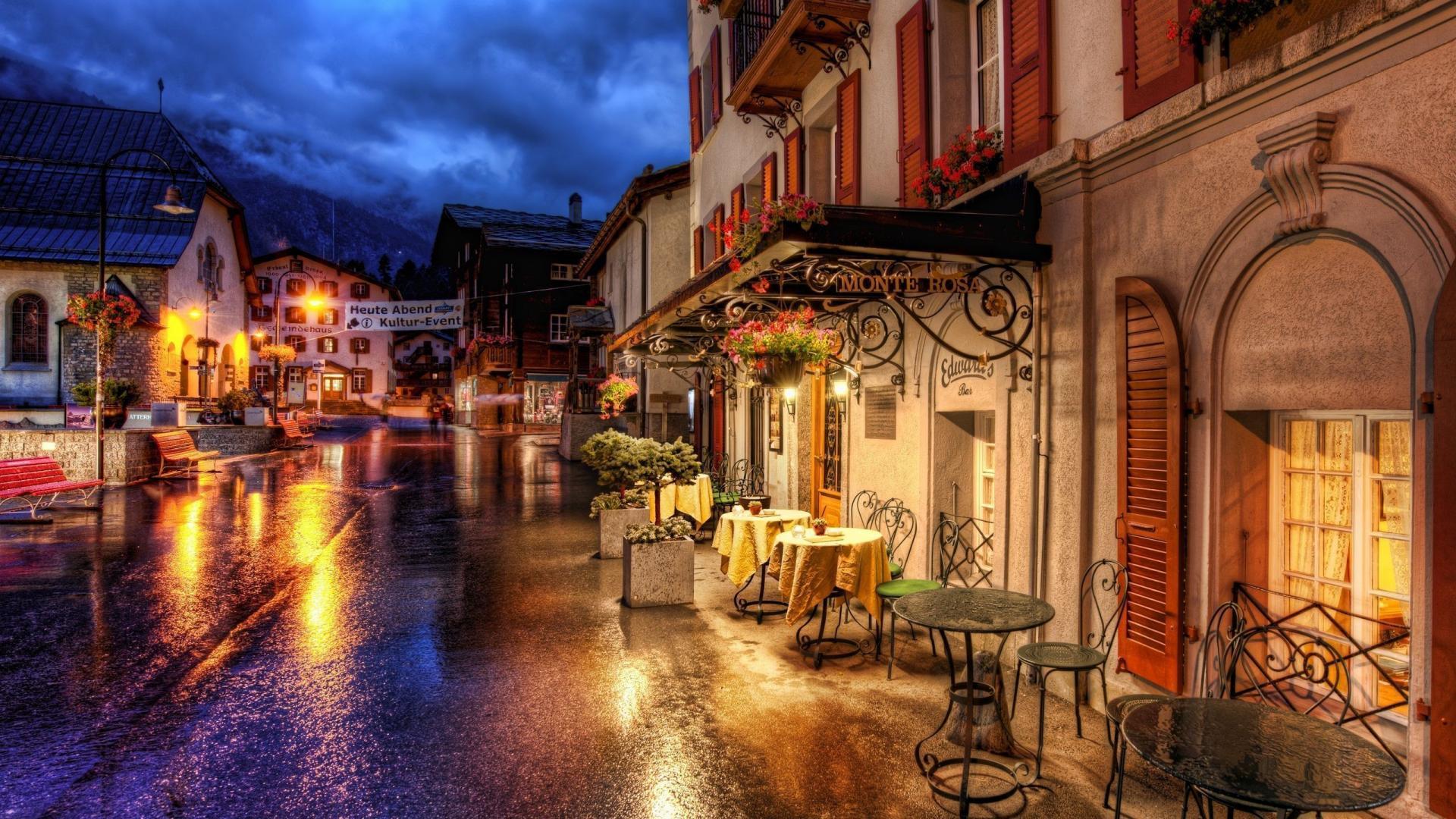 Switzerland houses lights night oldtown wallpaper | (53917)