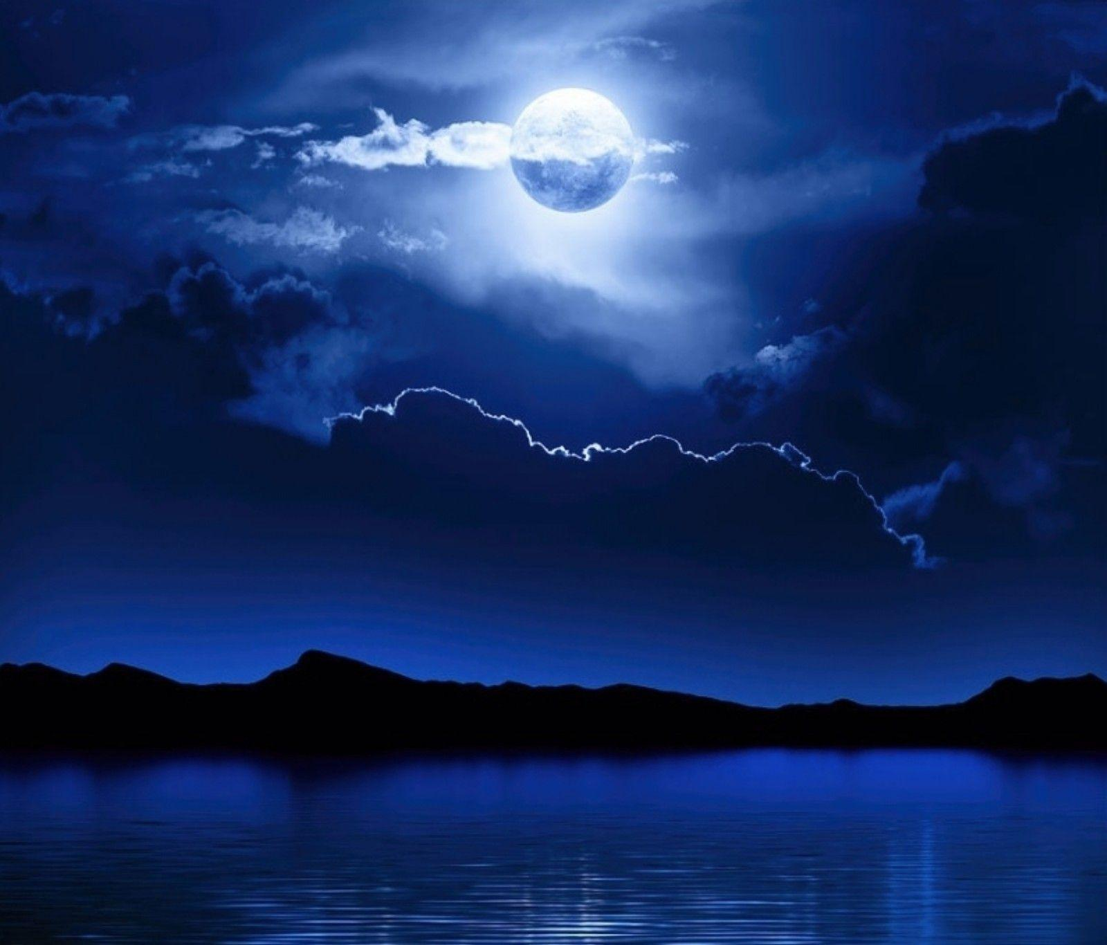 Sky: Water Blue Moon Night Clouds Sky Wallpapers Cloudy for HD 16:9