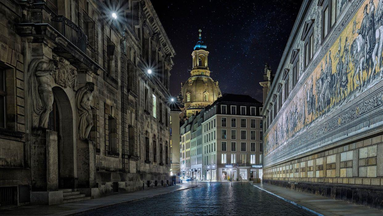 Germany street night Dresden wallpapers