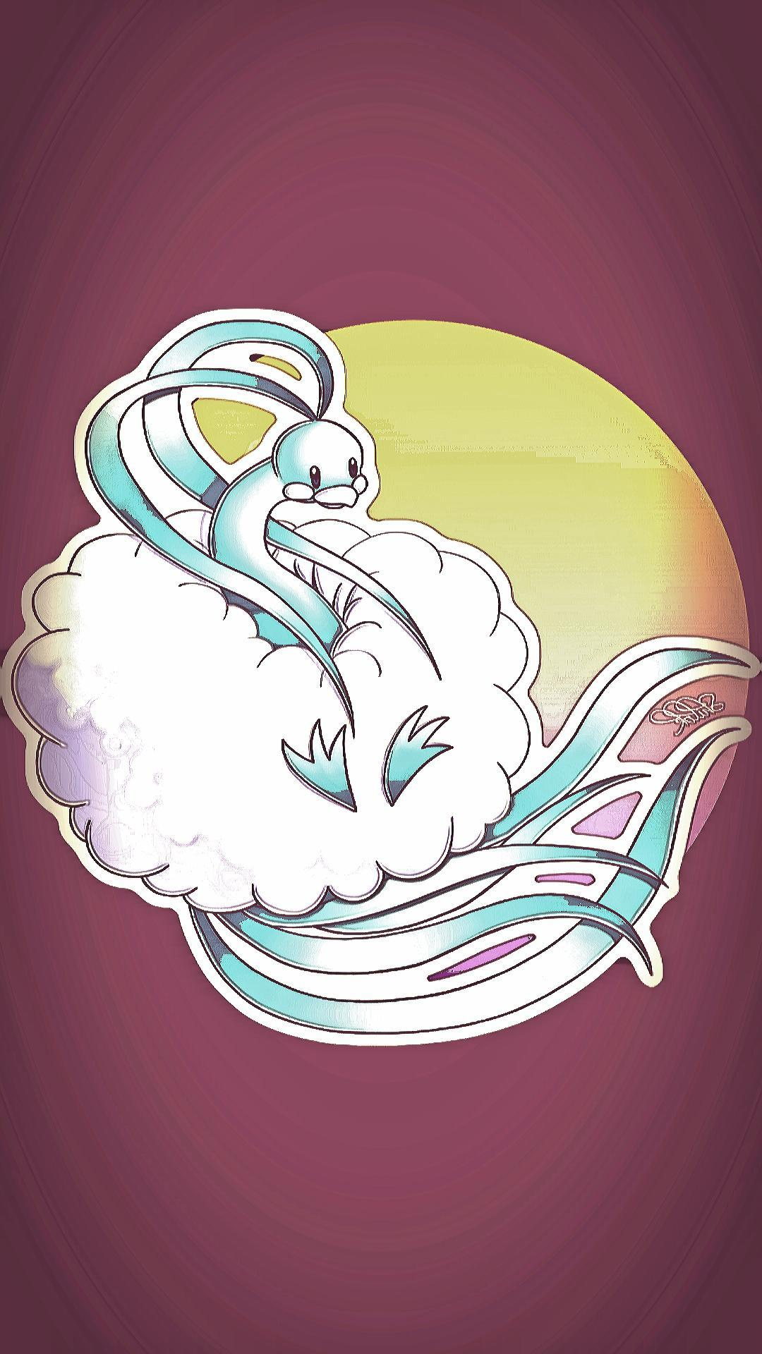 An edit of Altaria for a phone wallpaper, requested by Tolstar : pokemon