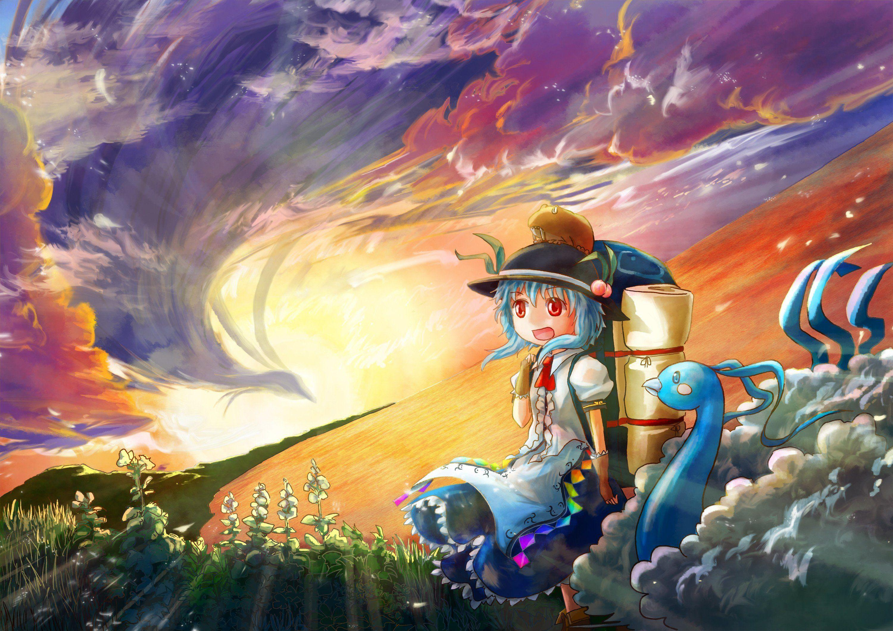 Sunset Pokemon video games clouds Touhou dress blue hair red eyes ...