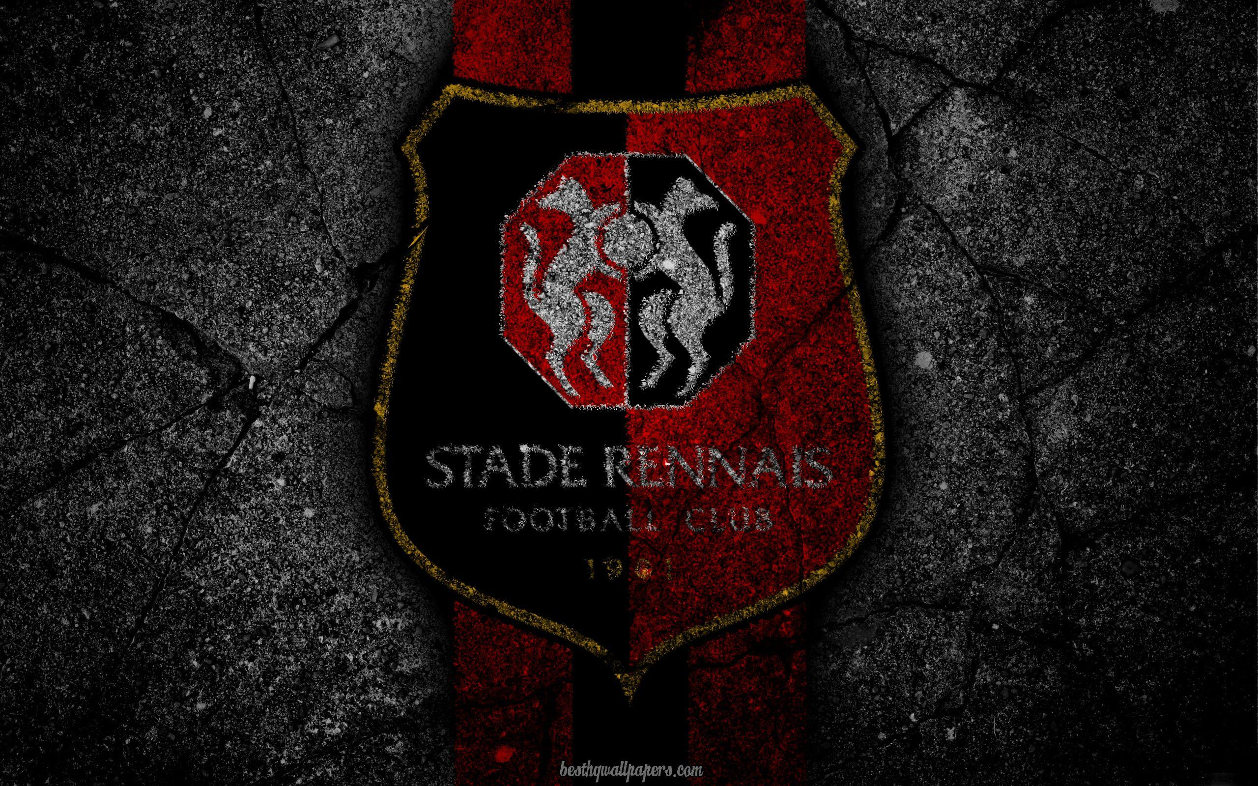 Download wallpapers Rennes, logo, art, Liga 1, soccer, football club