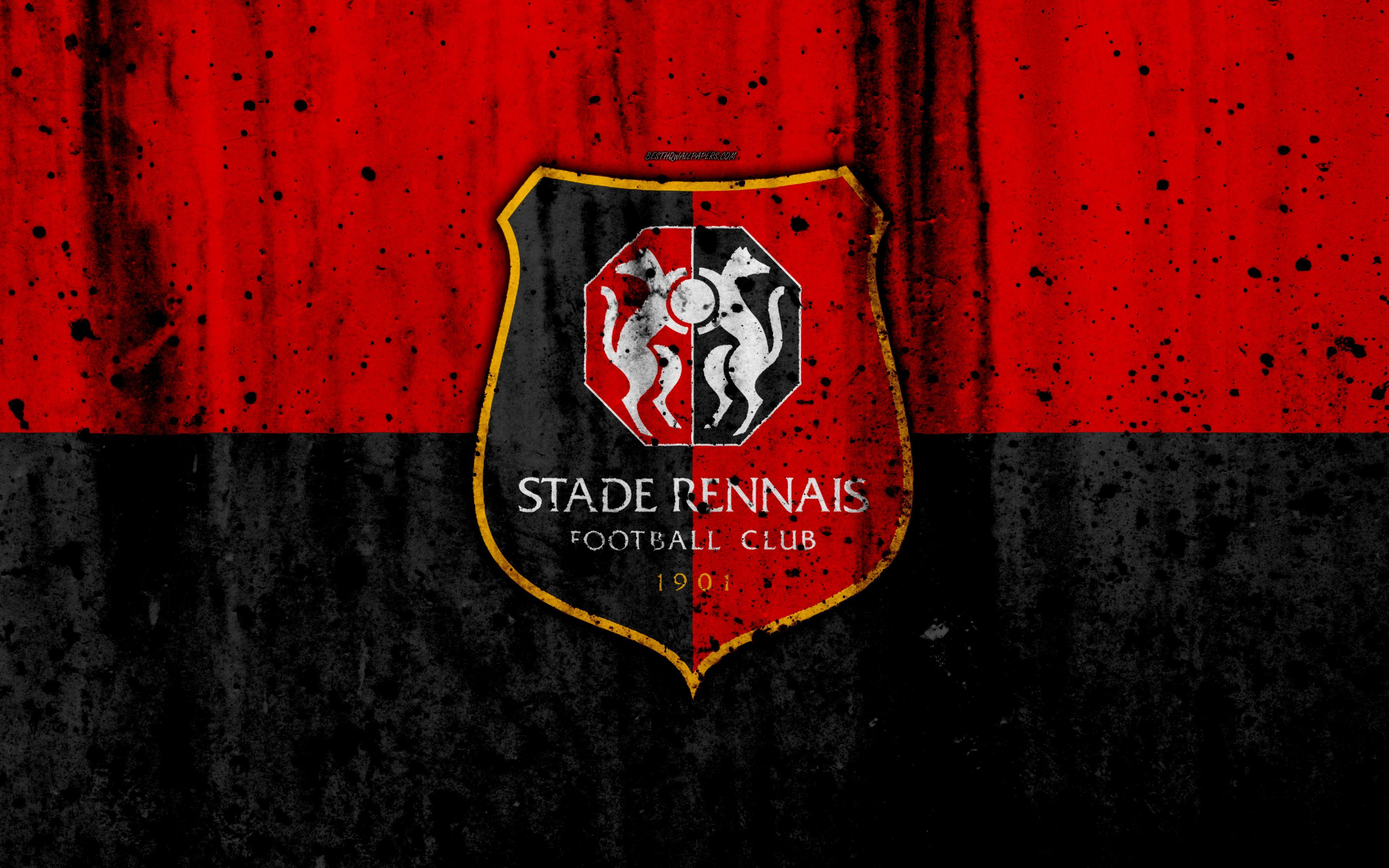 Download wallpapers FC Rennes, 4k, logo, Ligue 1, stone texture
