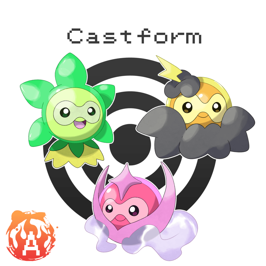 Castform Grassy, Misty, and Stormy Form by Austinferno on