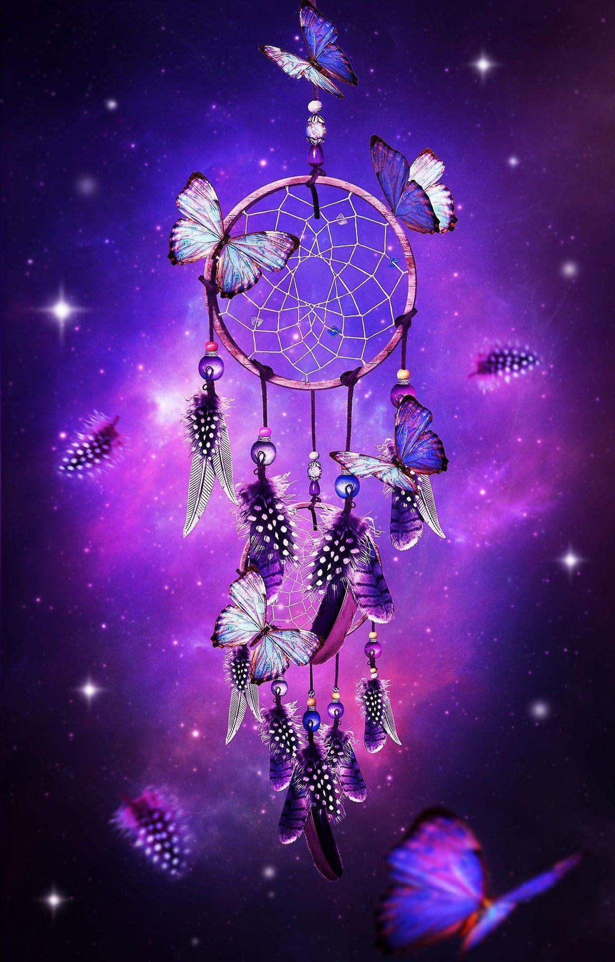 dream catcher with butterflies & purple background | Purple - a .
