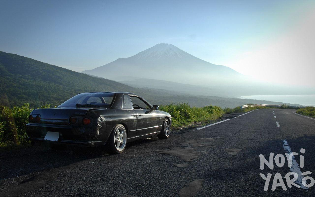 wallpapers for phone 5 — mountains cars roads nissan skyline r32 gtr...