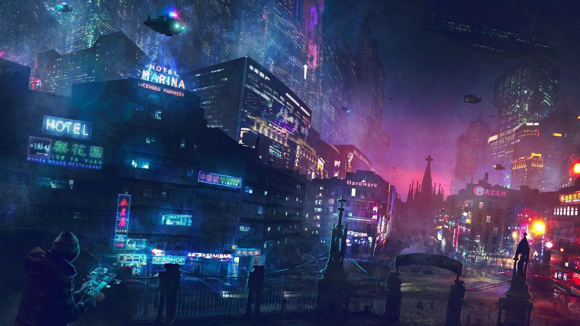 Neon City Wallpaper 1920x1080