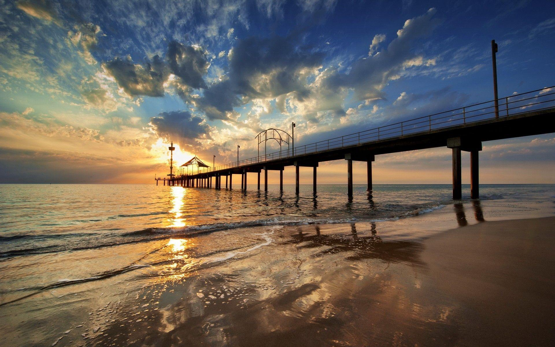 Beaches: Jetty Brighton Sea Nature Image For Desktop Backgrounds for