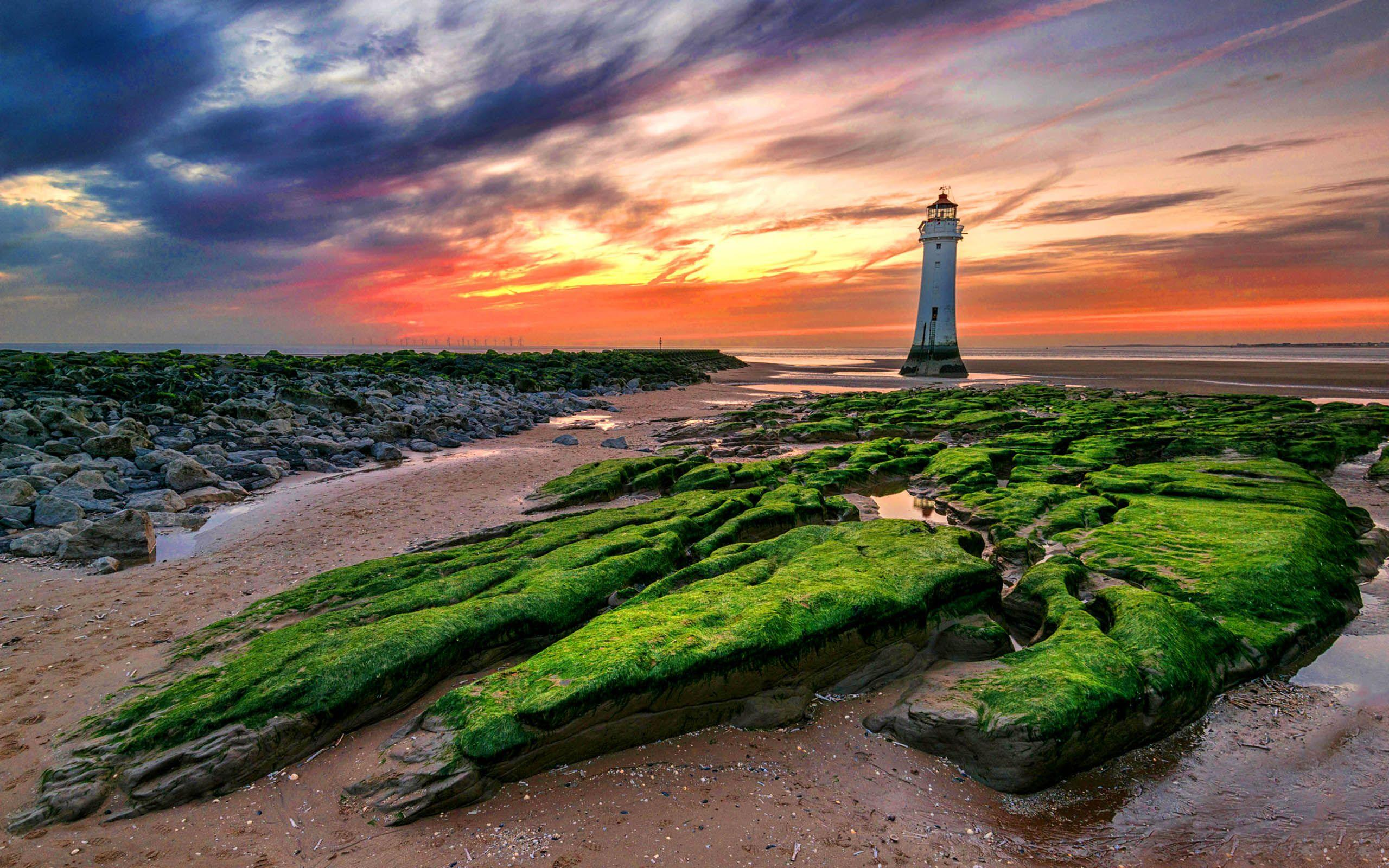 Sunset New Brighton Lighthouse In The United Kingdom Desktop