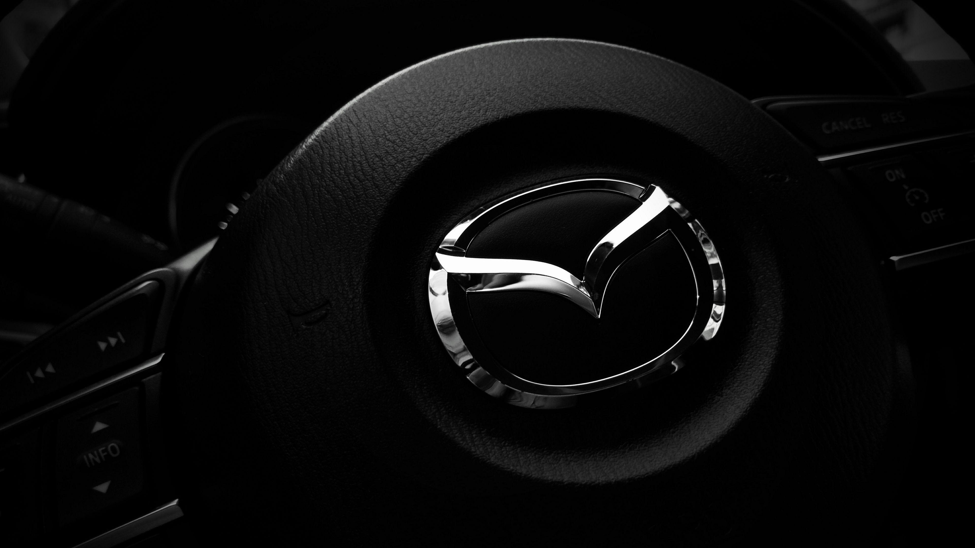 Download wallpapers 3840x2160 mazda, steering wheel, logo 4k uhd 16:9