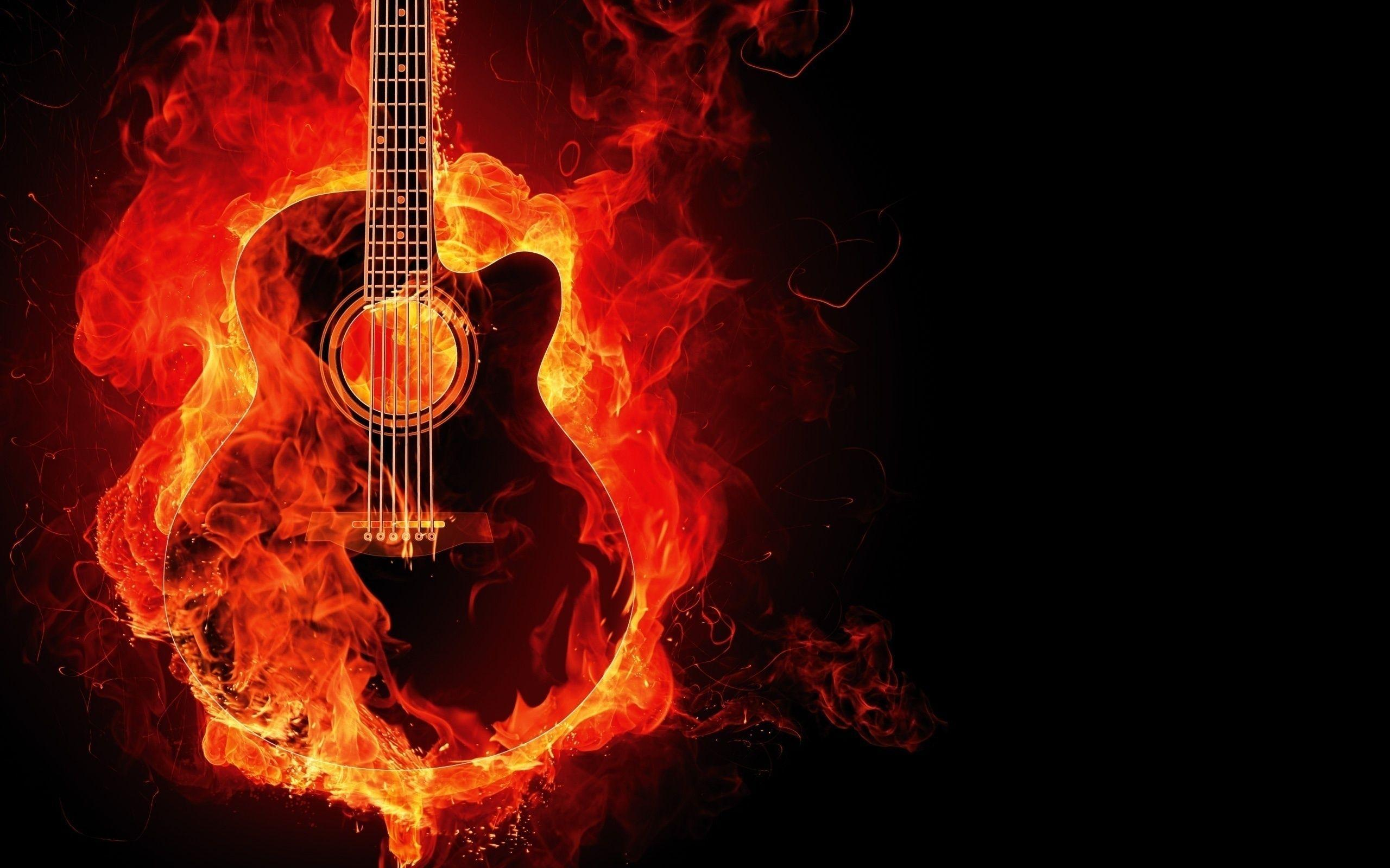 Burning Guitar Wallpapers Wallpaper Cave