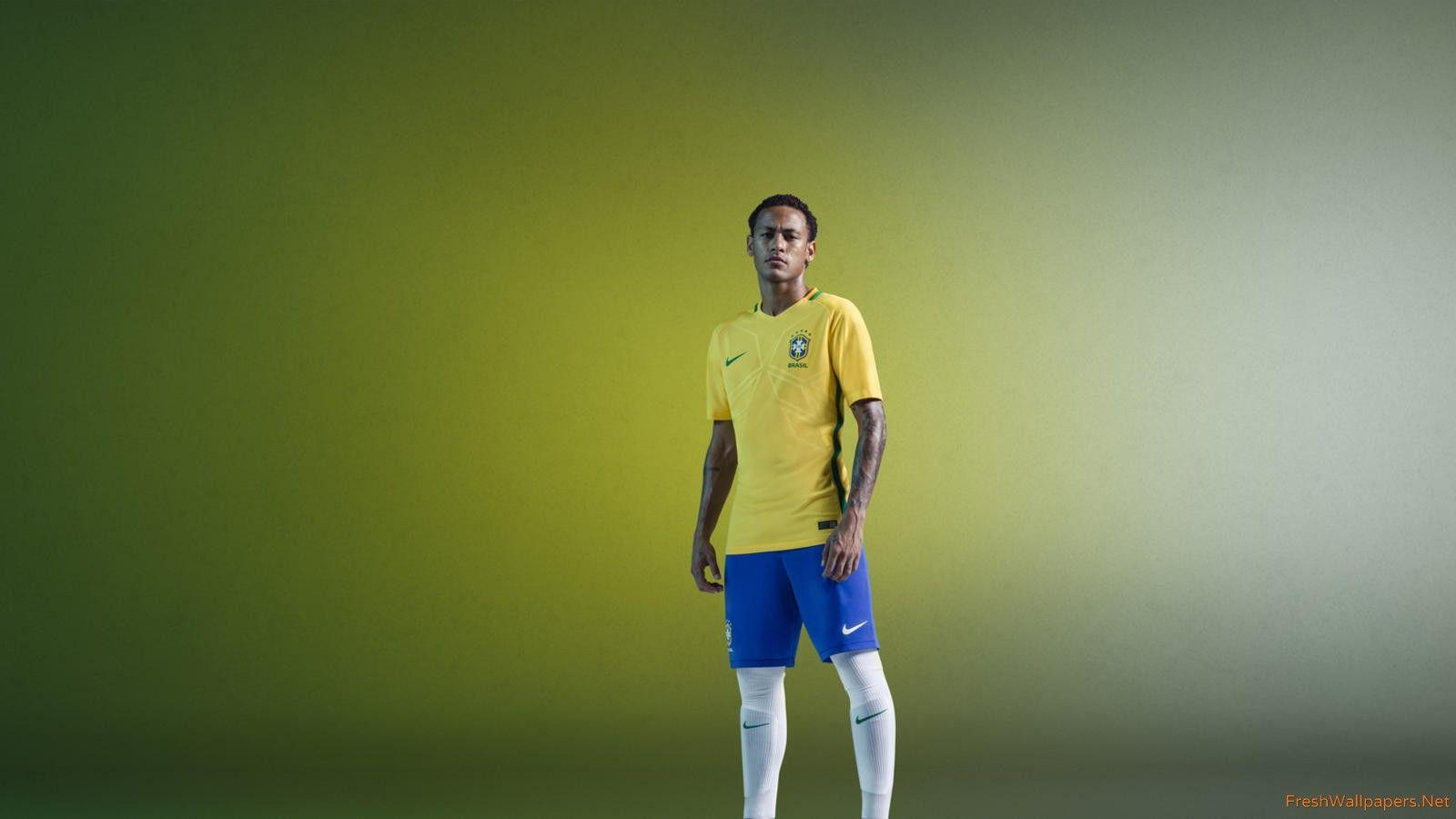 Neymar Jr Brazil 2016 Nike Home Kit Yellow wallpapers | Freshwallpapers