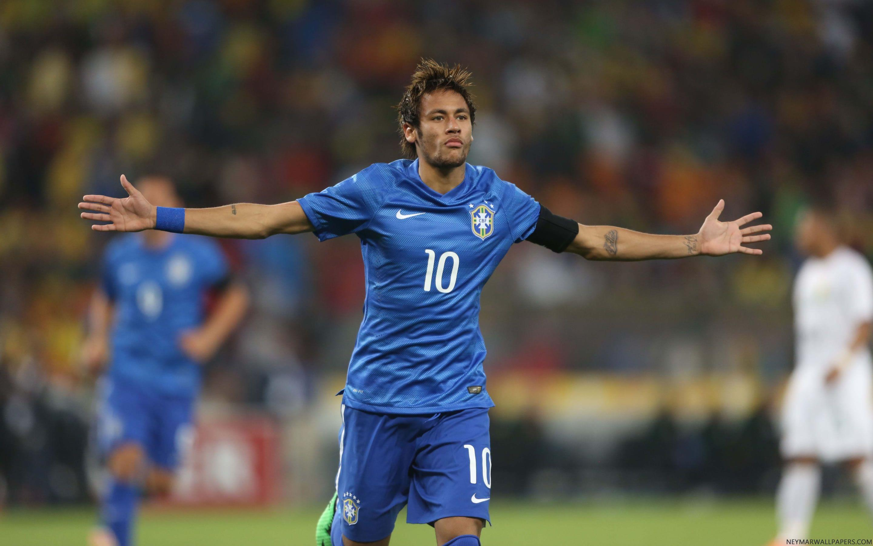 Neymar Brazil blue jersey celebrating - Neymar Wallpapers