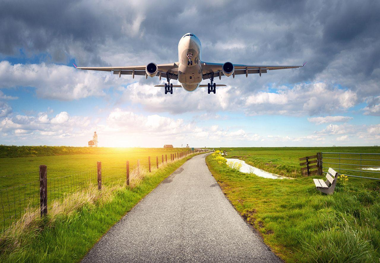 Wallpapers Airplane Passenger Airplanes Sky Fields Flight Aviation
