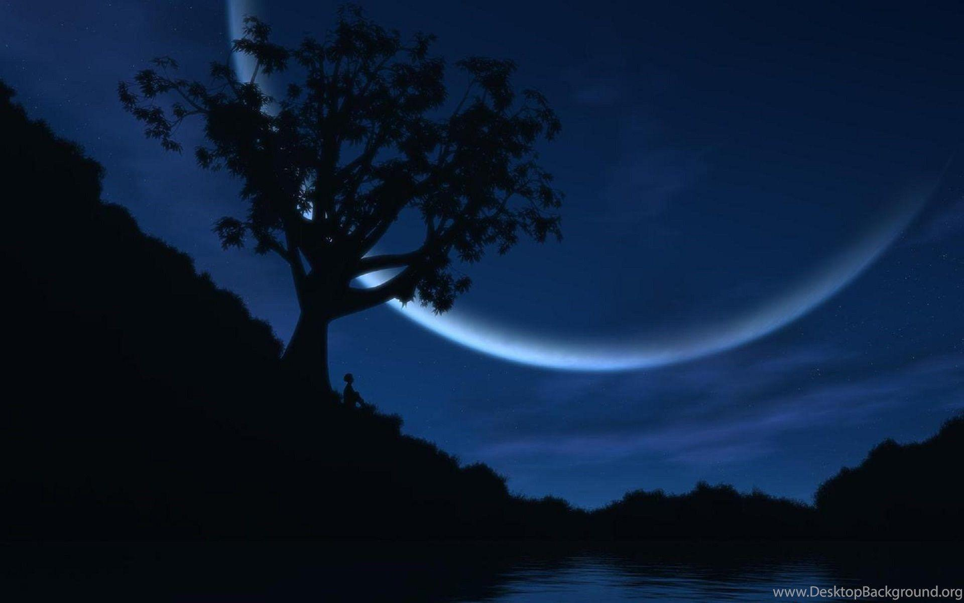 Good Night Awesome Half Moon Fantastic Wallpapers Desktop Background