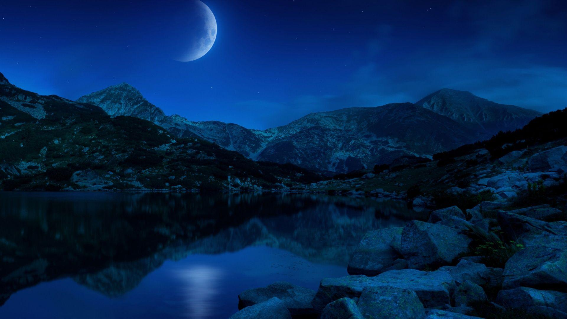 Night Half Moon Mountains Lake Bulgaria Wallpapers in jpg format for ...