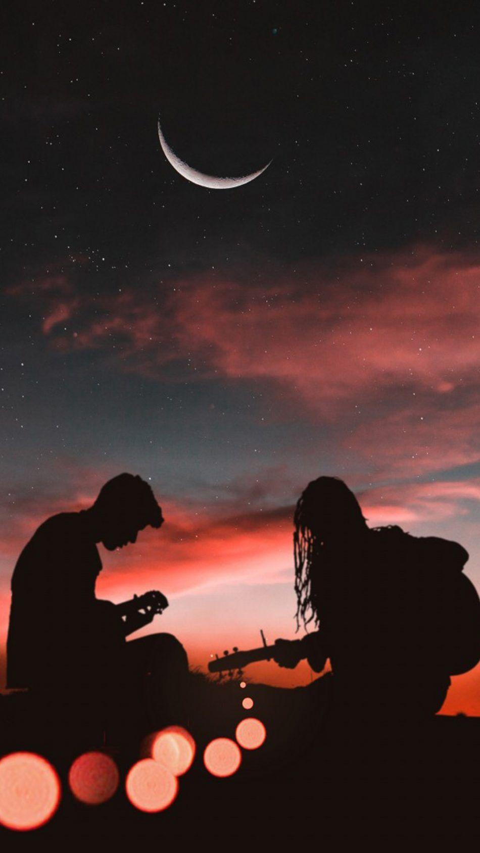 Romantic Couple Playing Guitar Sunset Half Moon - Download Free 100 ...