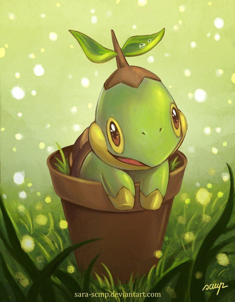 Turtwig in vase by sara-scmp on DeviantArt