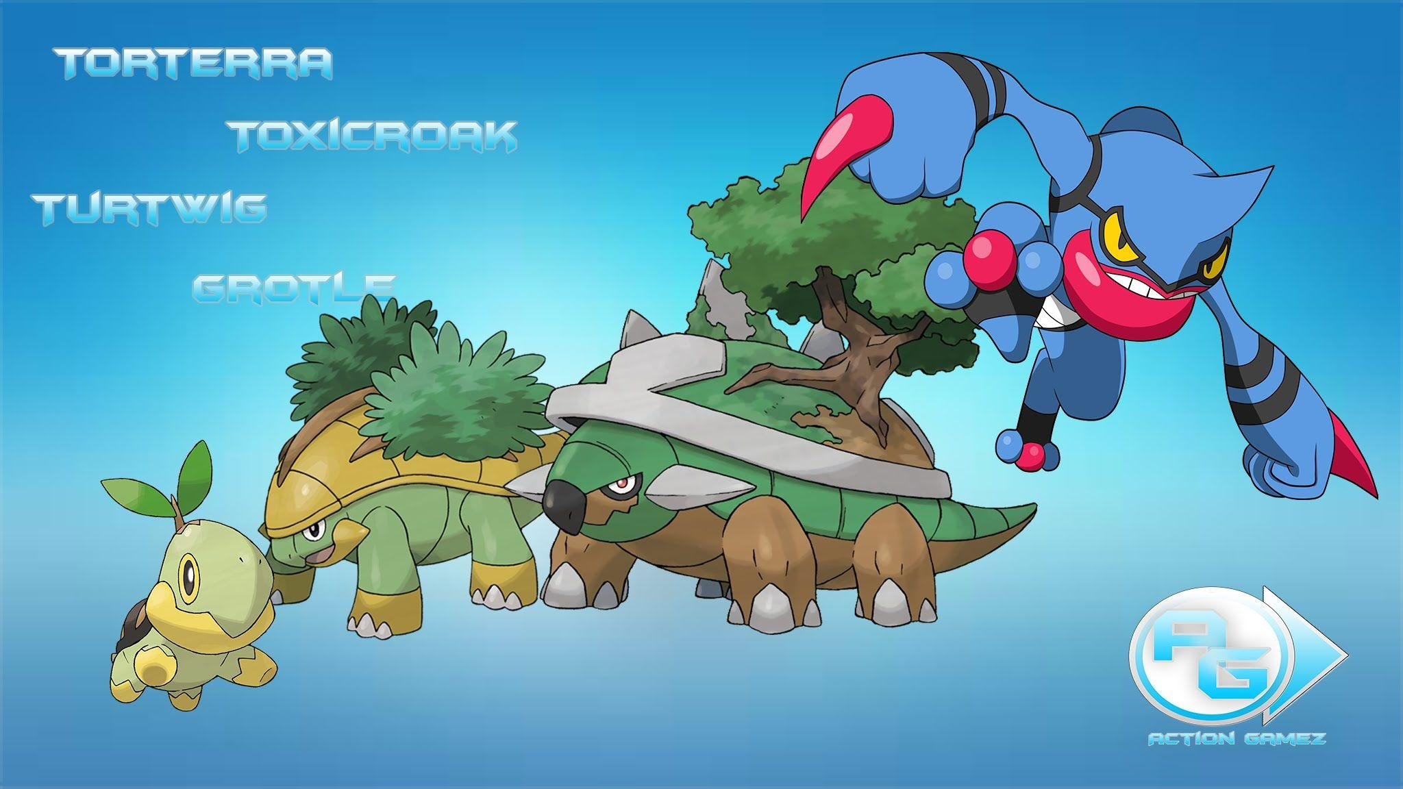 Respawn do Torterra, Toxicroak, Grotle e do Turtwig