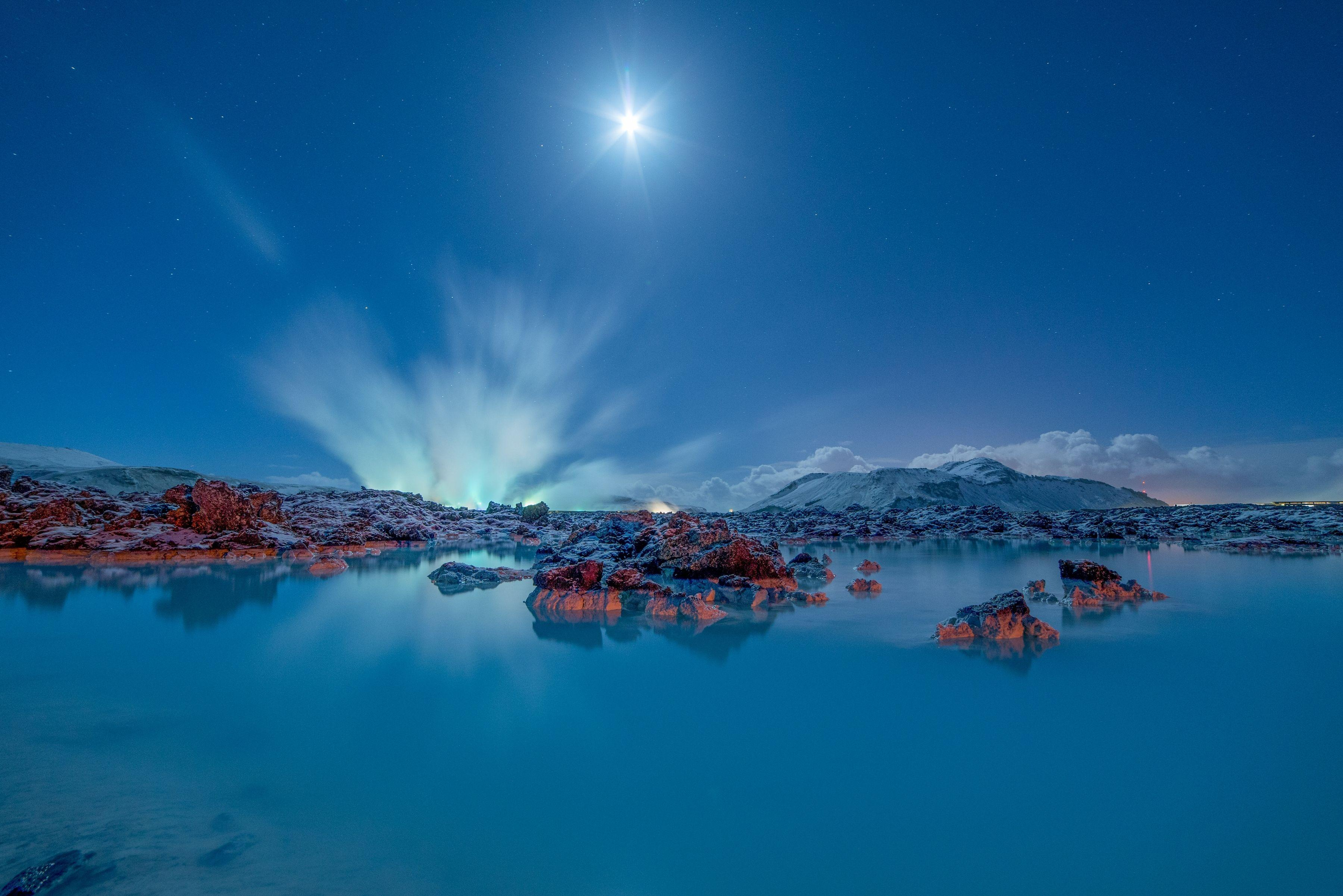 Wallpapers Blue Lagoon, Moonlight, Iceland, 4K, Nature,