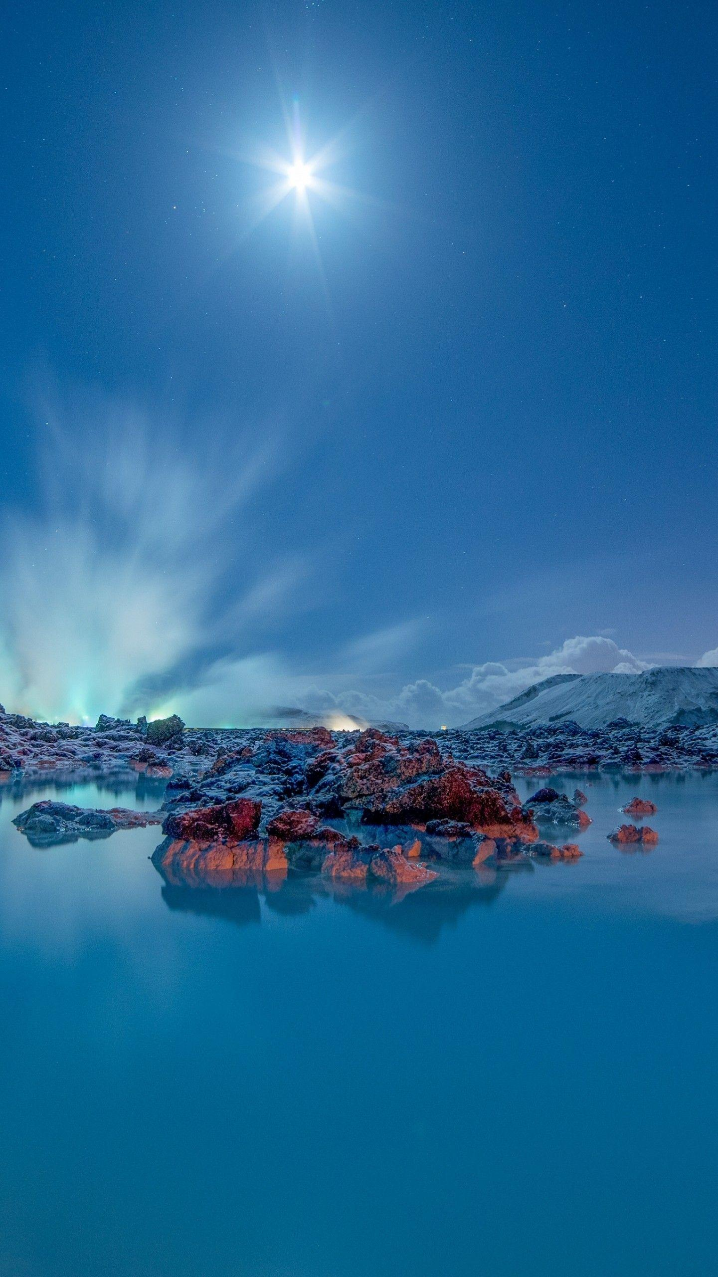 Wallpapers Blue Lagoon, Moonlight, Iceland, 4K, Nature / Editor's
