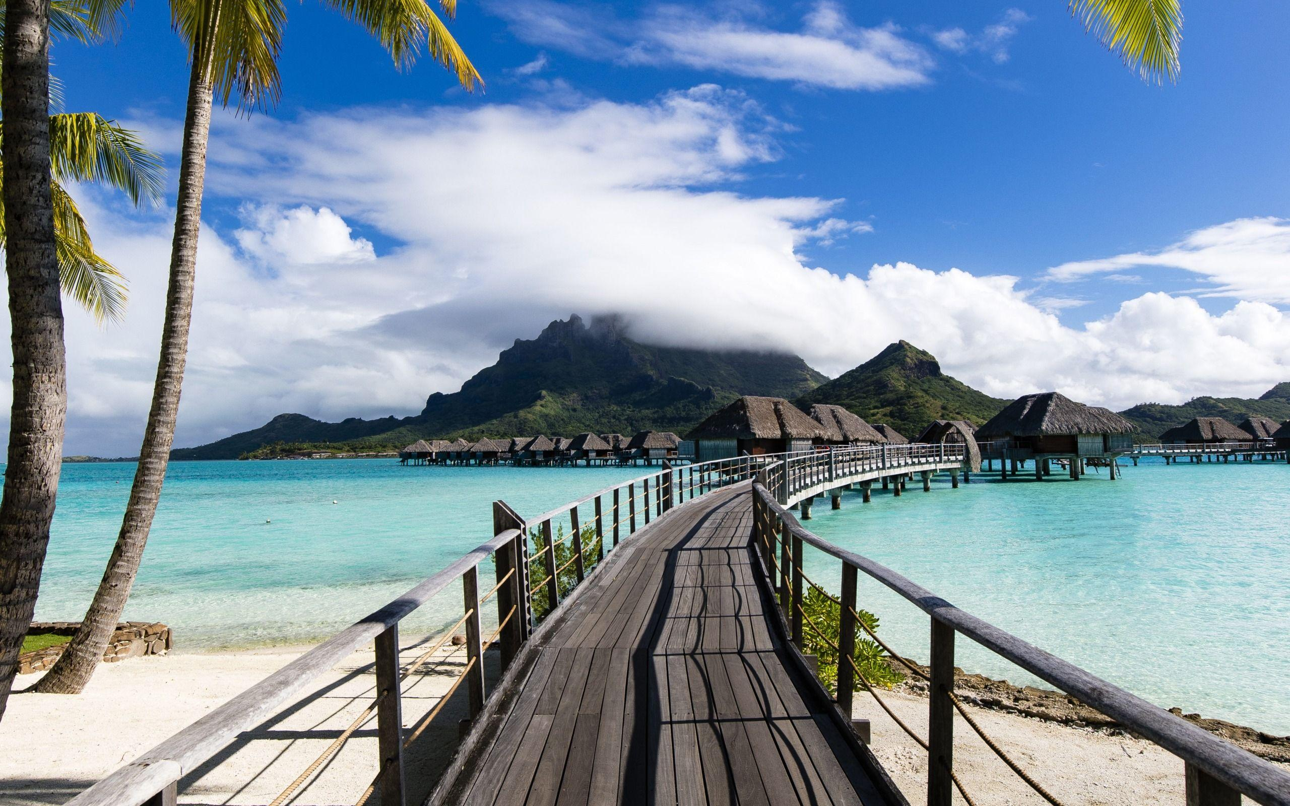 Download wallpapers Bora Bora, ocean, summer travel, vacation, blue