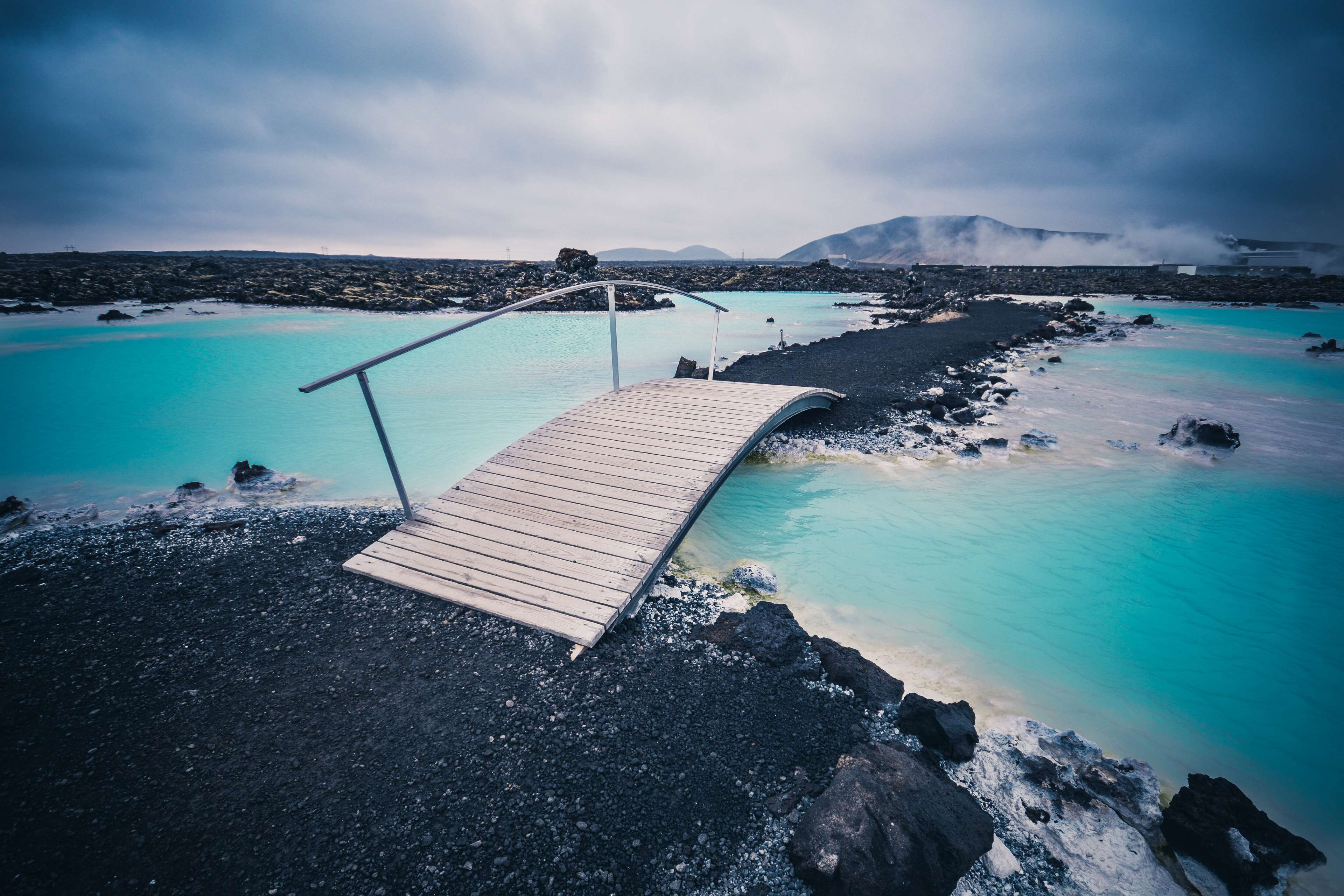 blue, blue lagoon, bridge, clouds, cold, iceland, mountains, night