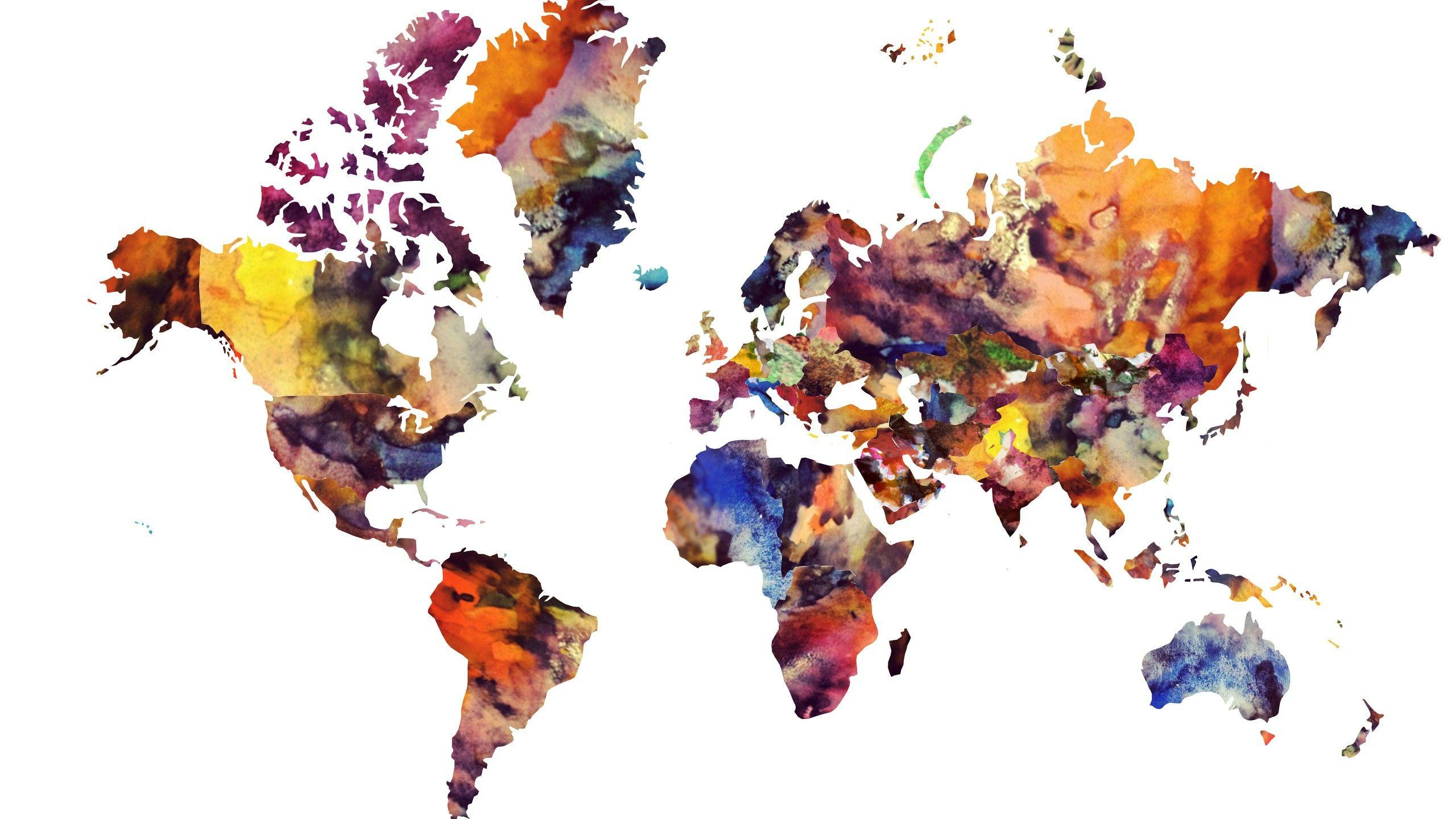World Map Watercolor Wallpaper Inspirationa 2560x1440 Maps