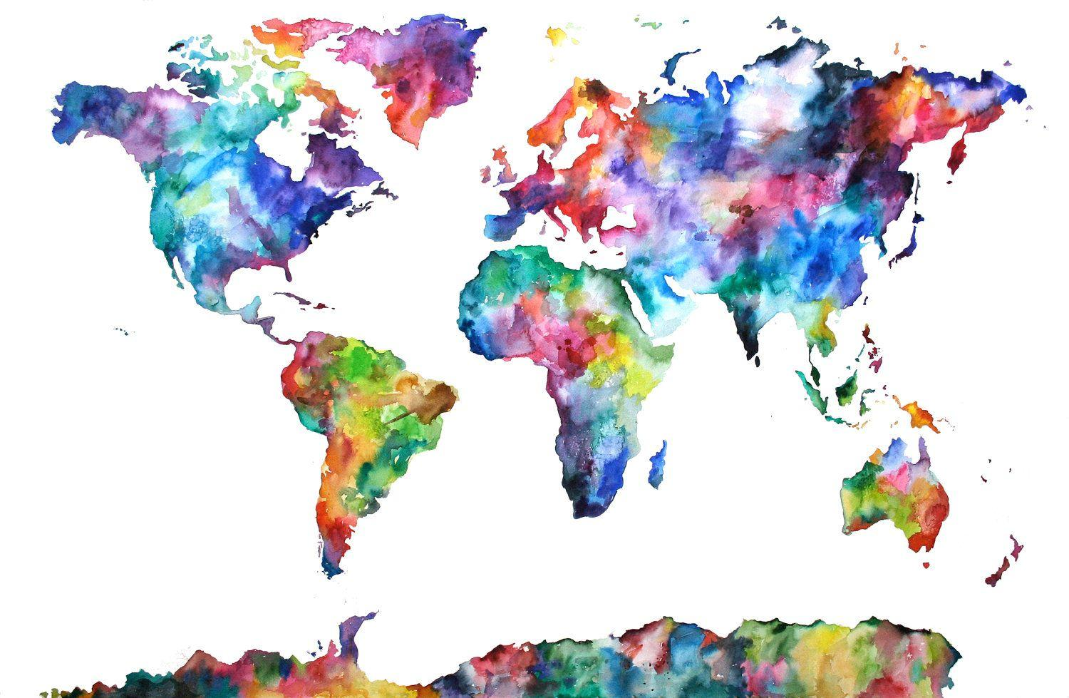 Watercolour Map Of The World HD Nature Wallpaper Inside Watercolor