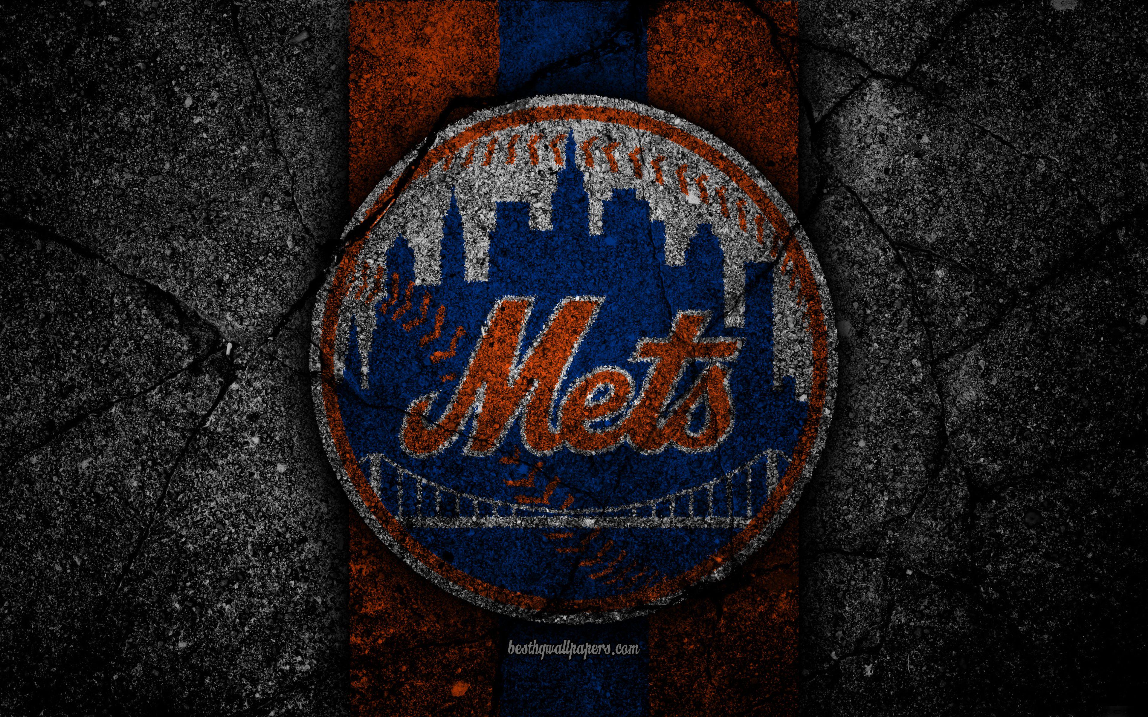 detailed look 58612 54baf Download wallpapers 4k, New York Mets, logo, MLB, baseball, USA .