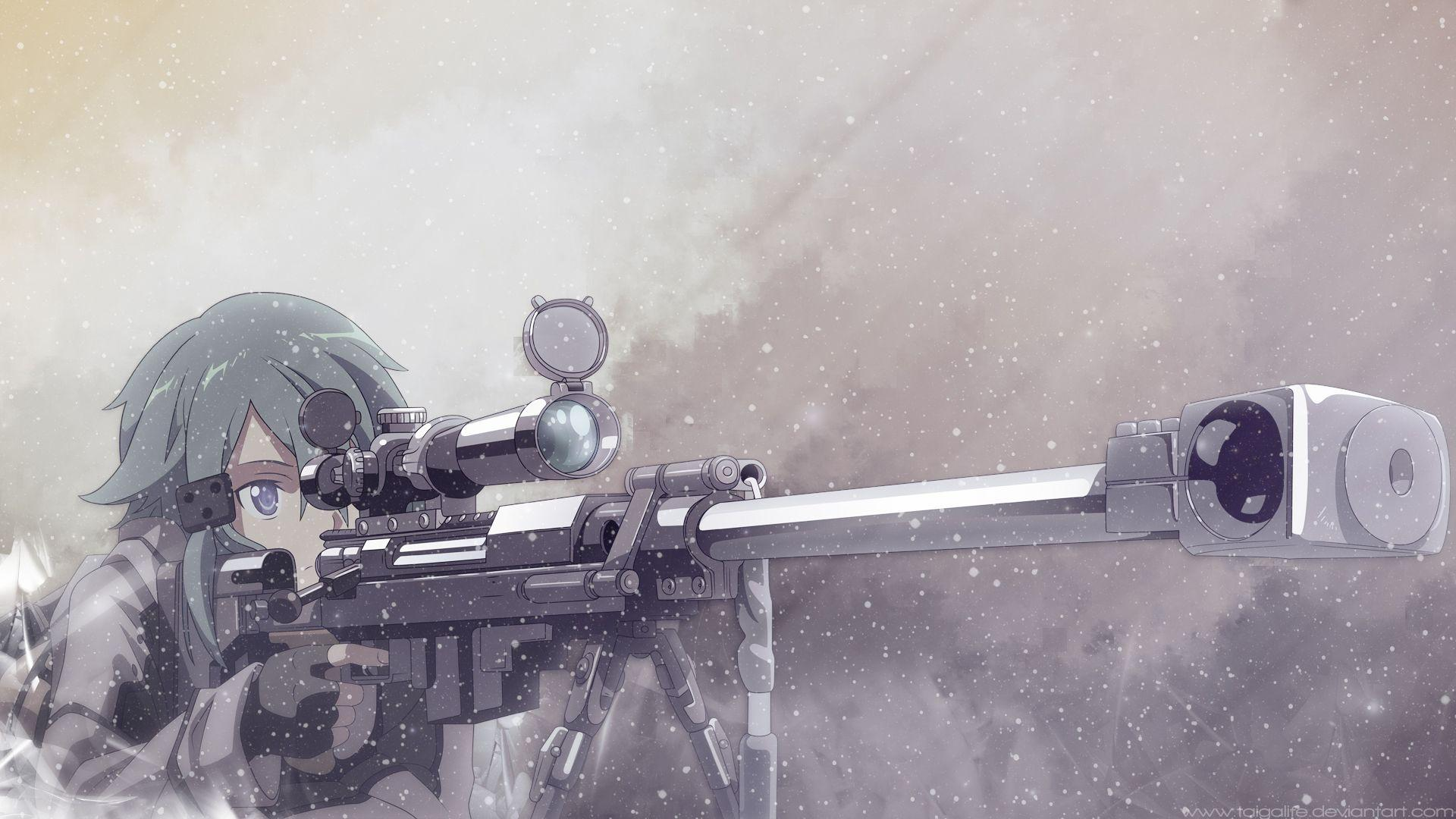 anime, anime girl, Sinon, Shino Asada, sniper rifle, Gun Gale Online