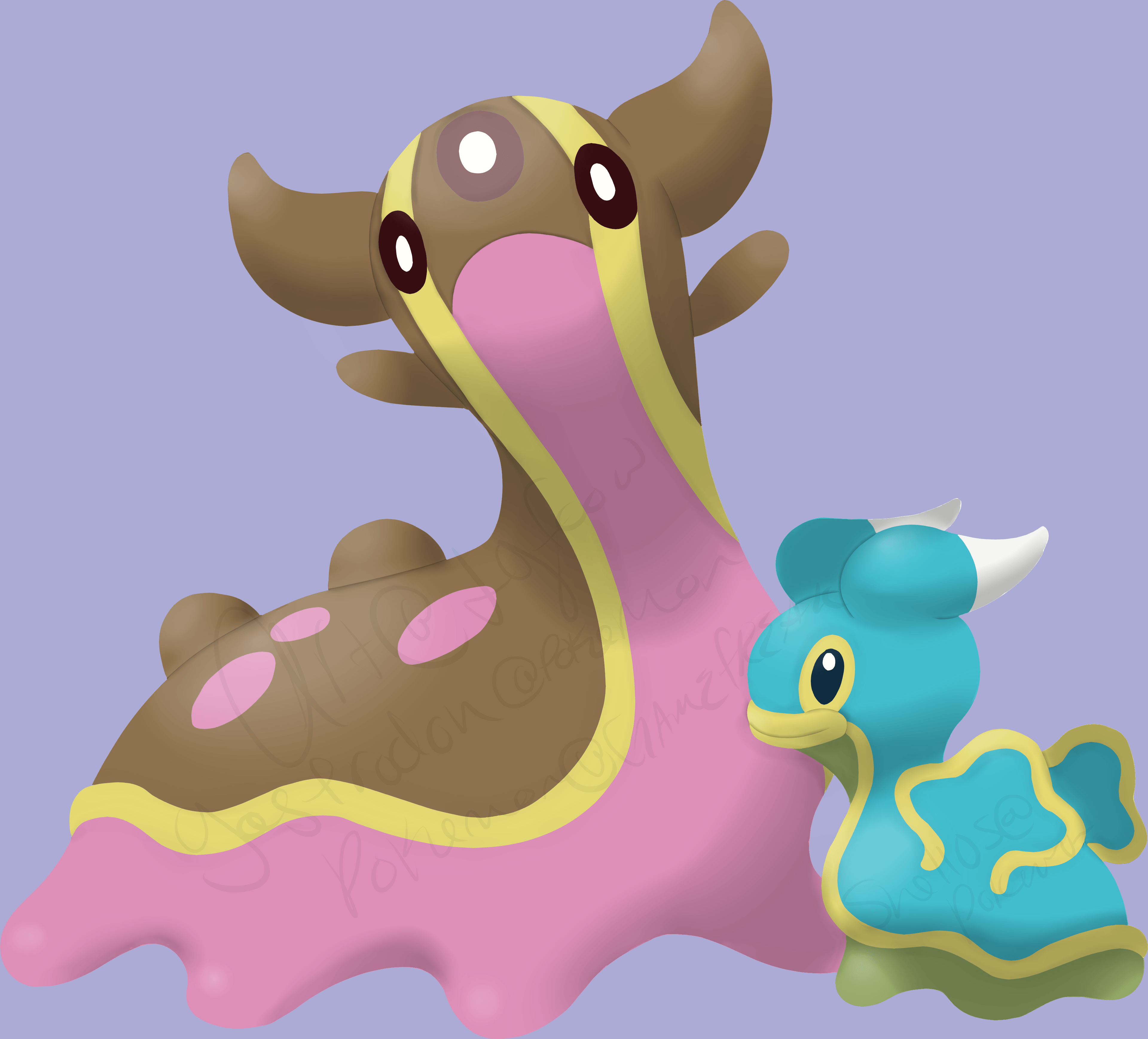 OC) Gastrodon/Shellos in Ken Sugimori's style mixed with my own ...