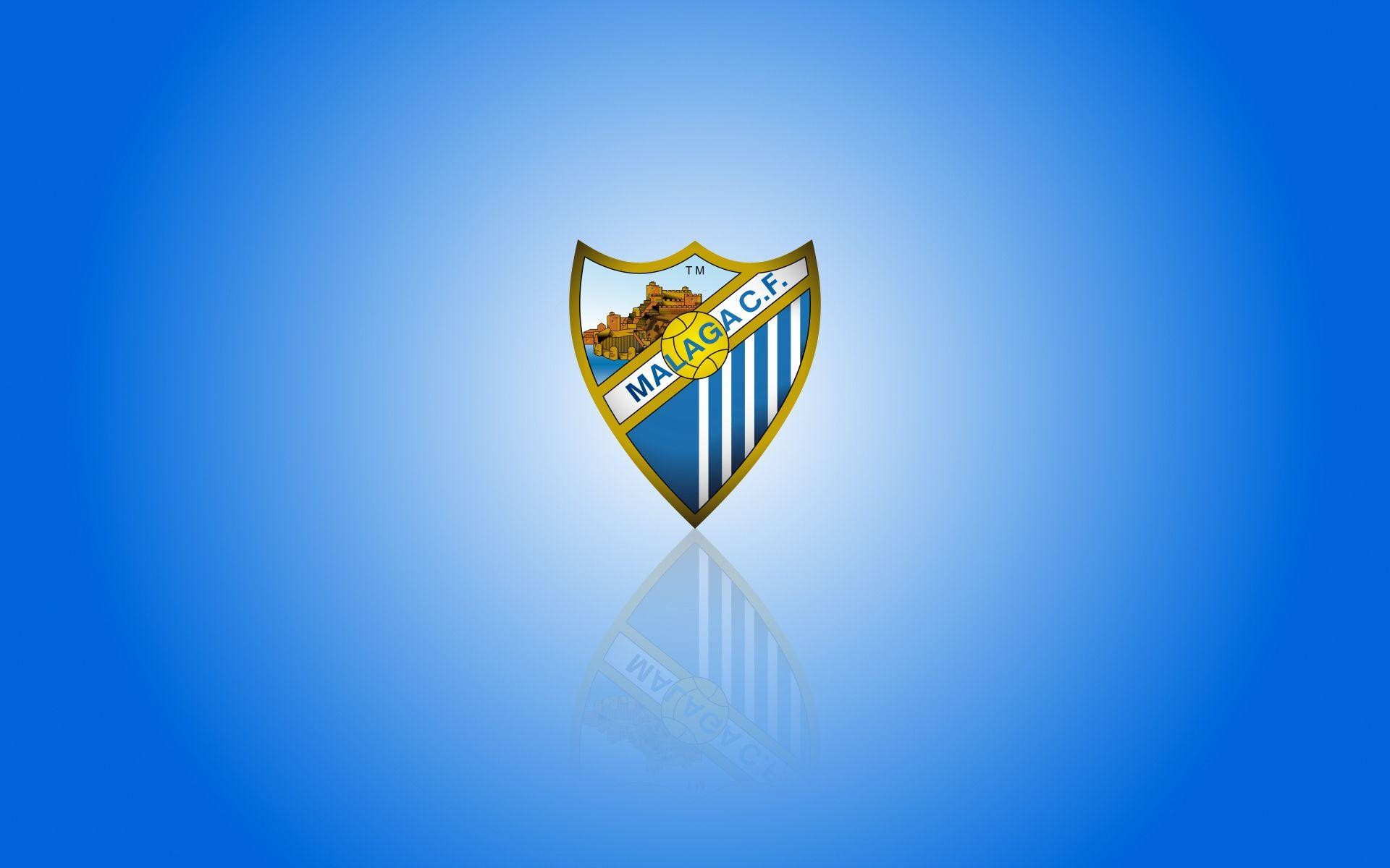 Málaga CF wallpapers with club logo, widescreen blue backgrounds