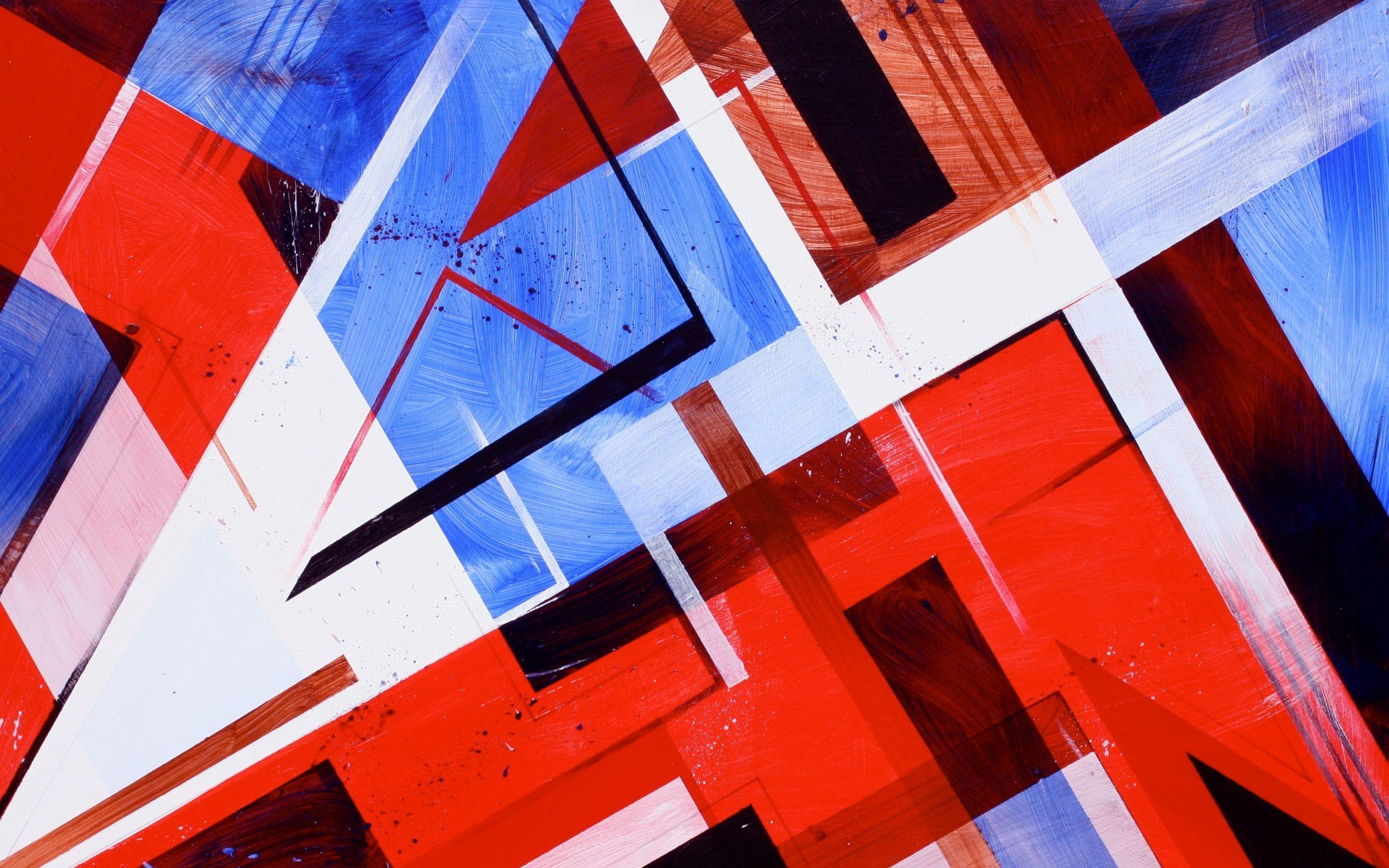 Red White And Blue Wallpaper Abstract Shapes Wide 2560x1600