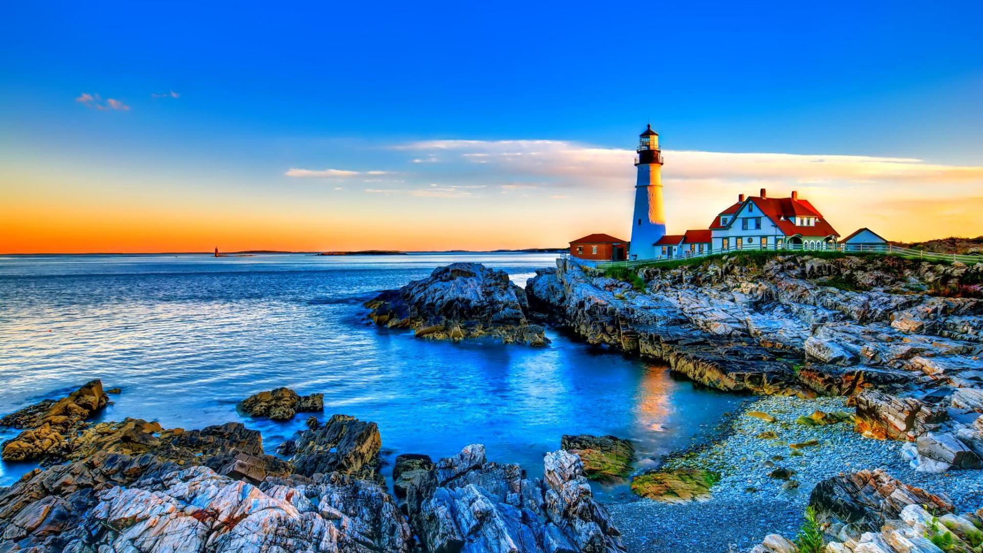 Gorgeous Lighthouse On A Rocky S Wide Hd