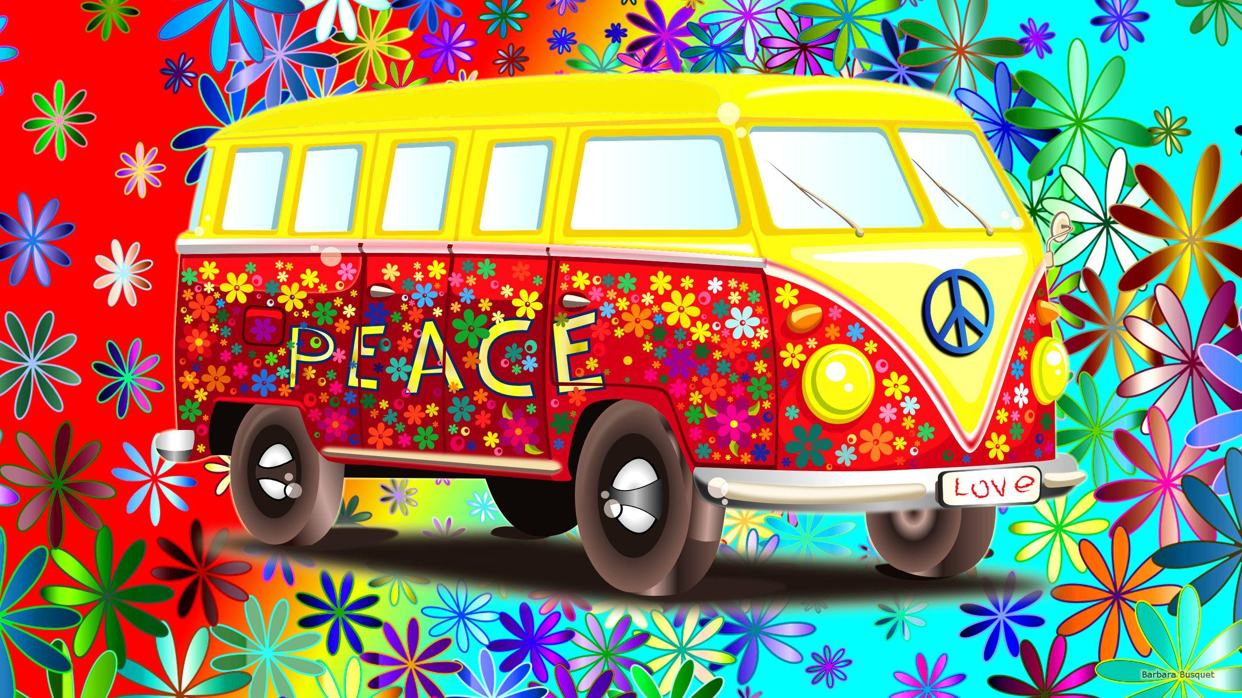 VW bus wallpapers with flowers