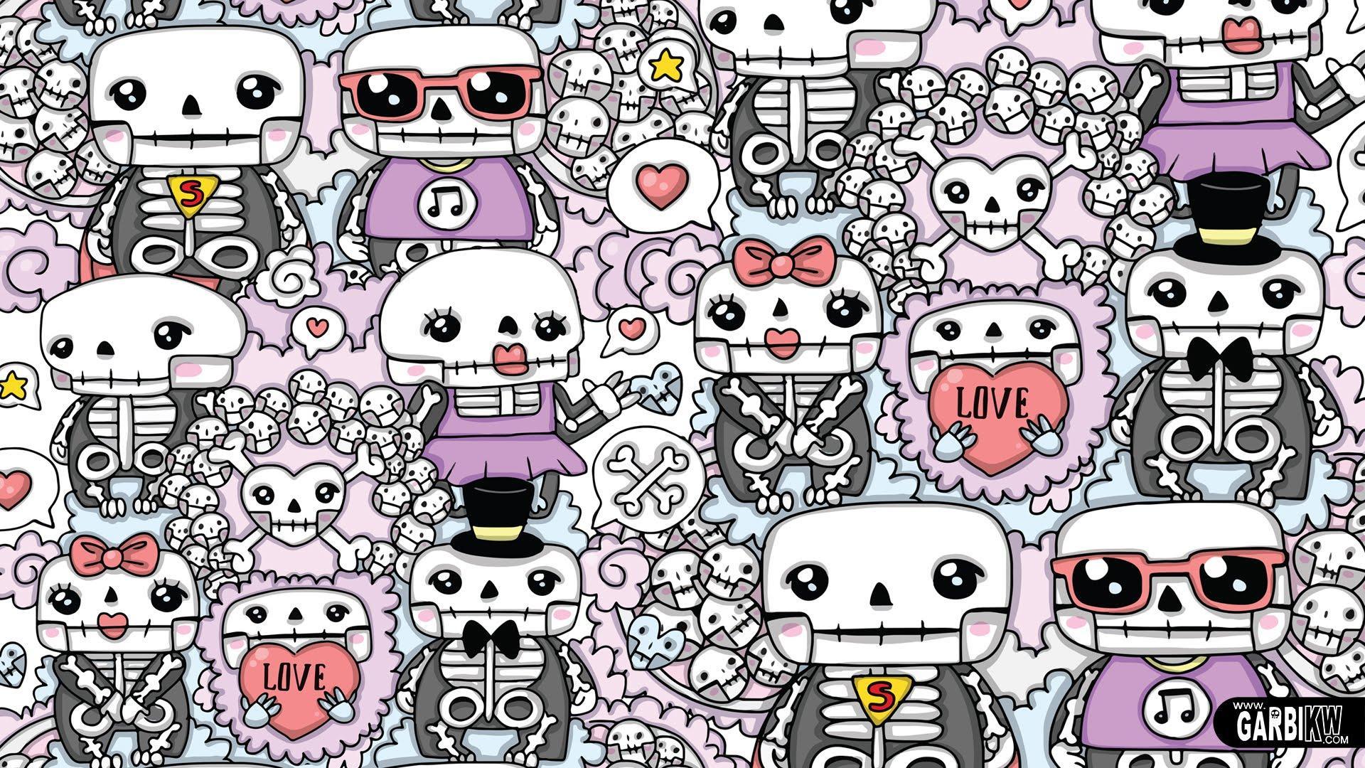 kawaii cute doodle doodles graffiti wallpapers skeletons monster kw backgrounds garbi wallpaperaccess
