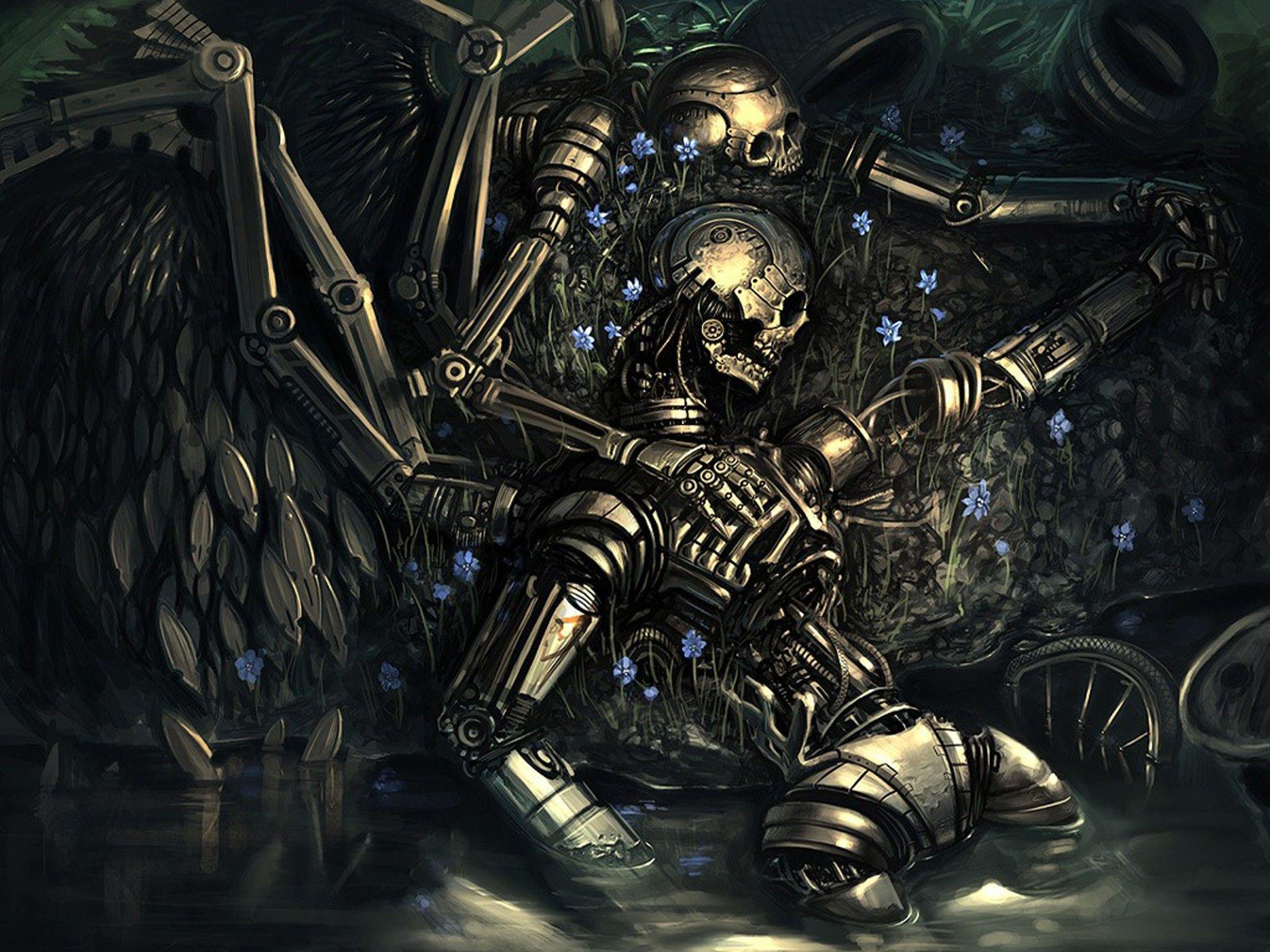 design, robots, flowers, death, love, artwork, skeletons, couple