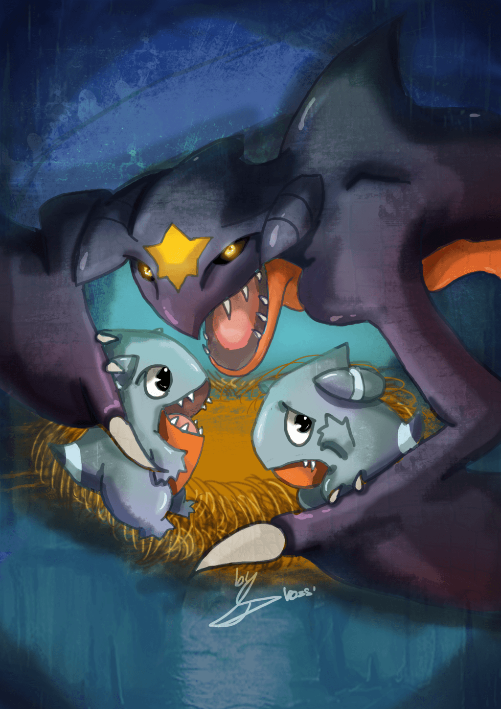Garchomp mother protecting little Gible (final) by DrossLoveYaoi on ...
