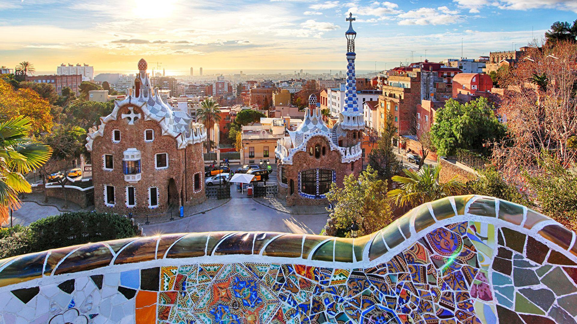 Image Barcelona Spain Park Guell Parks Cities Houses 1920x1080