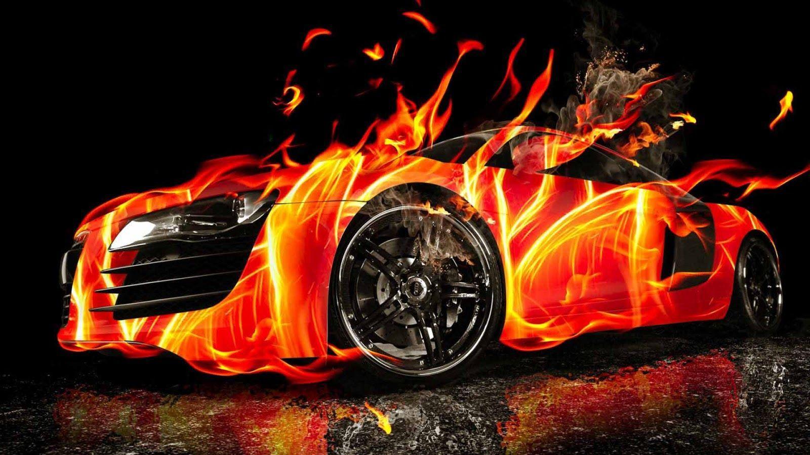 Fire On Car Wallpaper HQ Wallpaper | WallpaperLepi