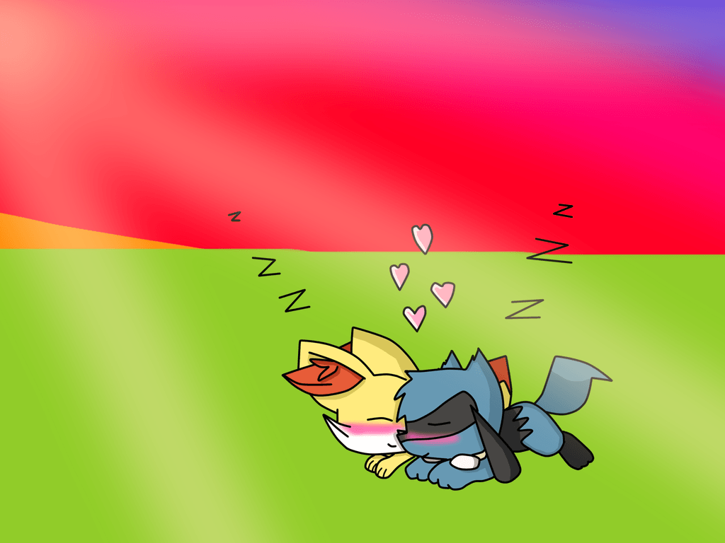 riolu x fennekin sleeping by xiorama on DeviantArt