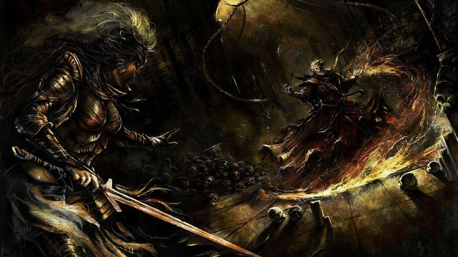 Wallpapers Land: Sorcerer vs Knight