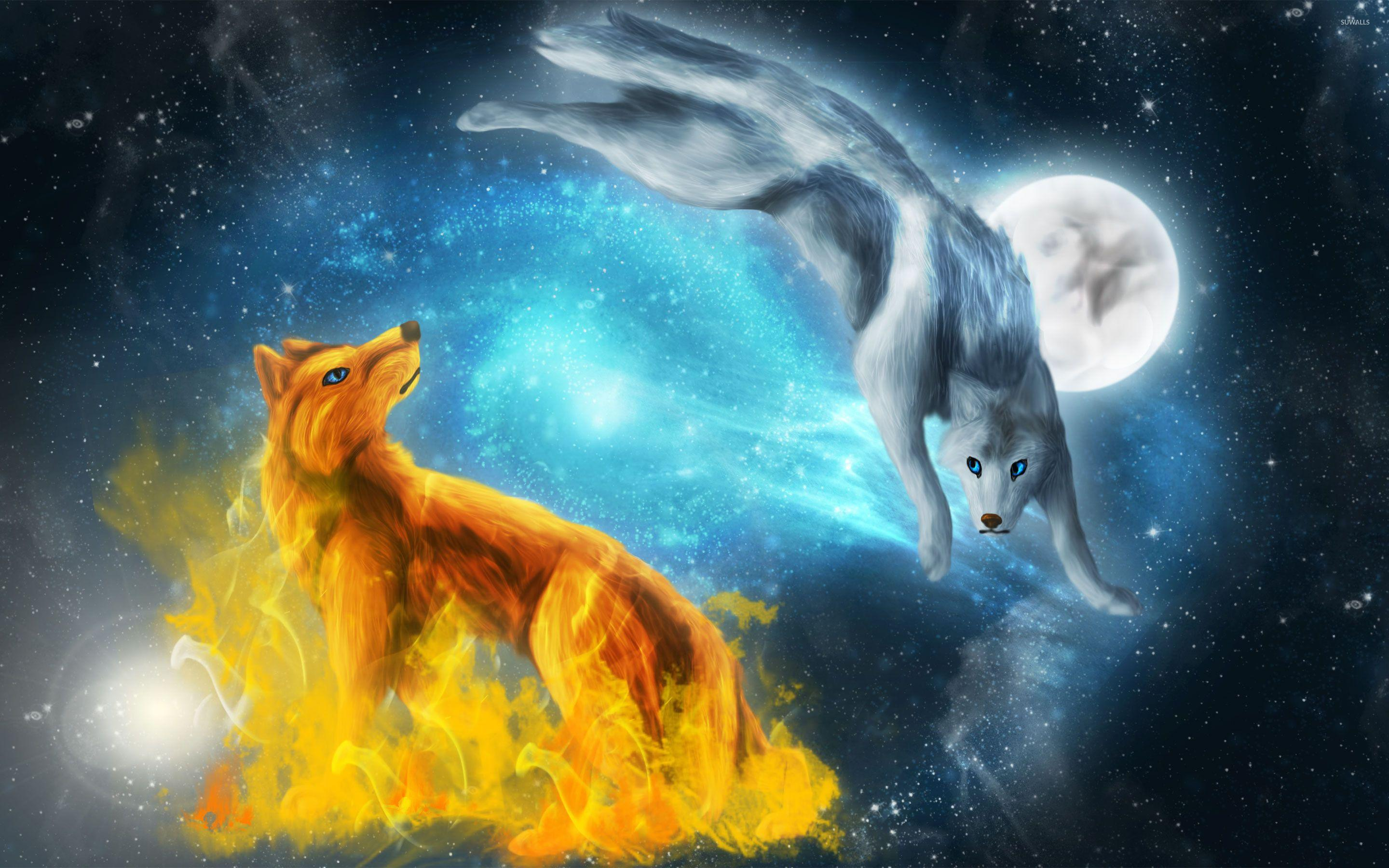 Fire Wolf Vs Ice Wolf Wallpapers Wallpaper Cave