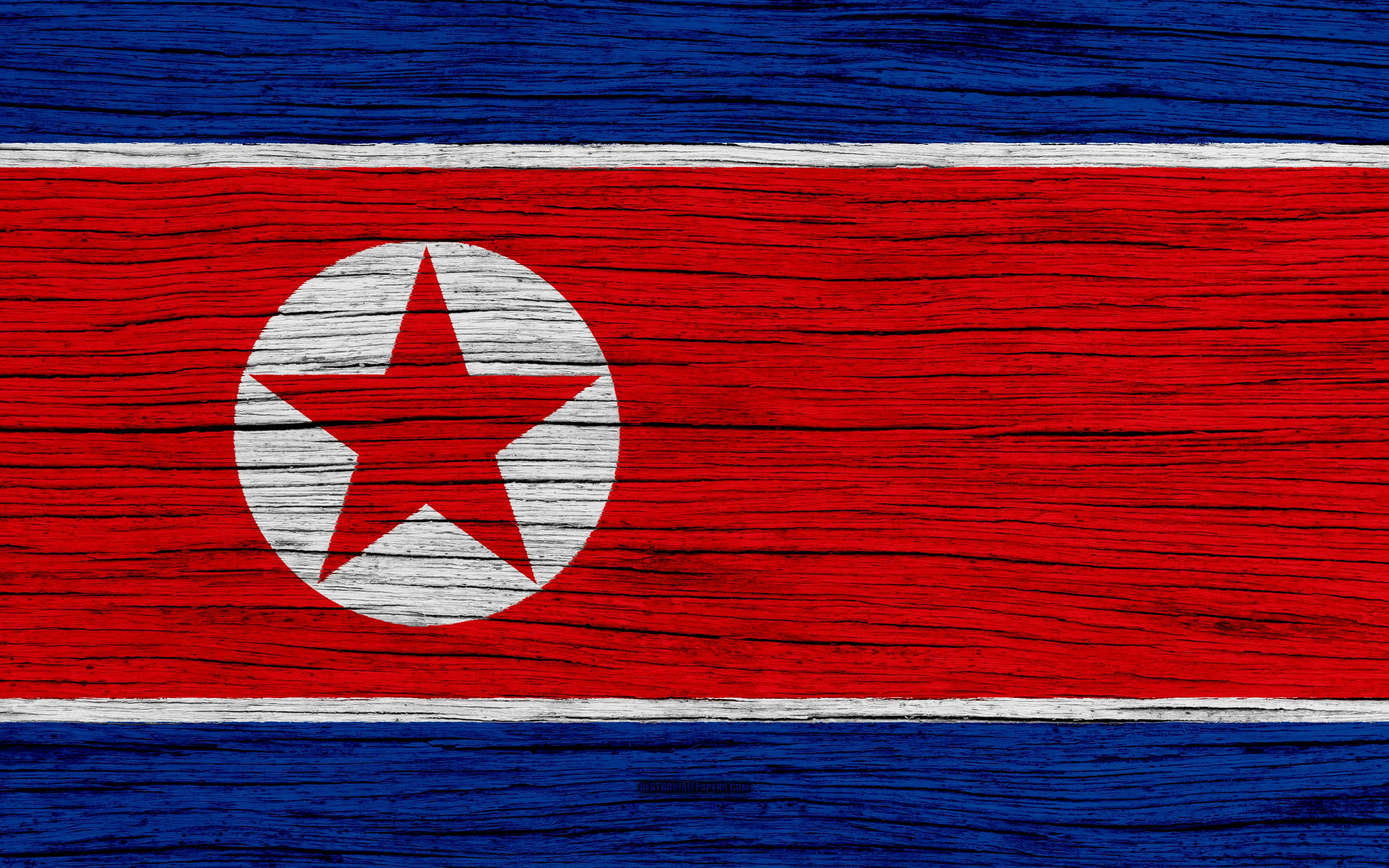 Download wallpapers Flag of North Korea, 4k, Asia, wooden texture