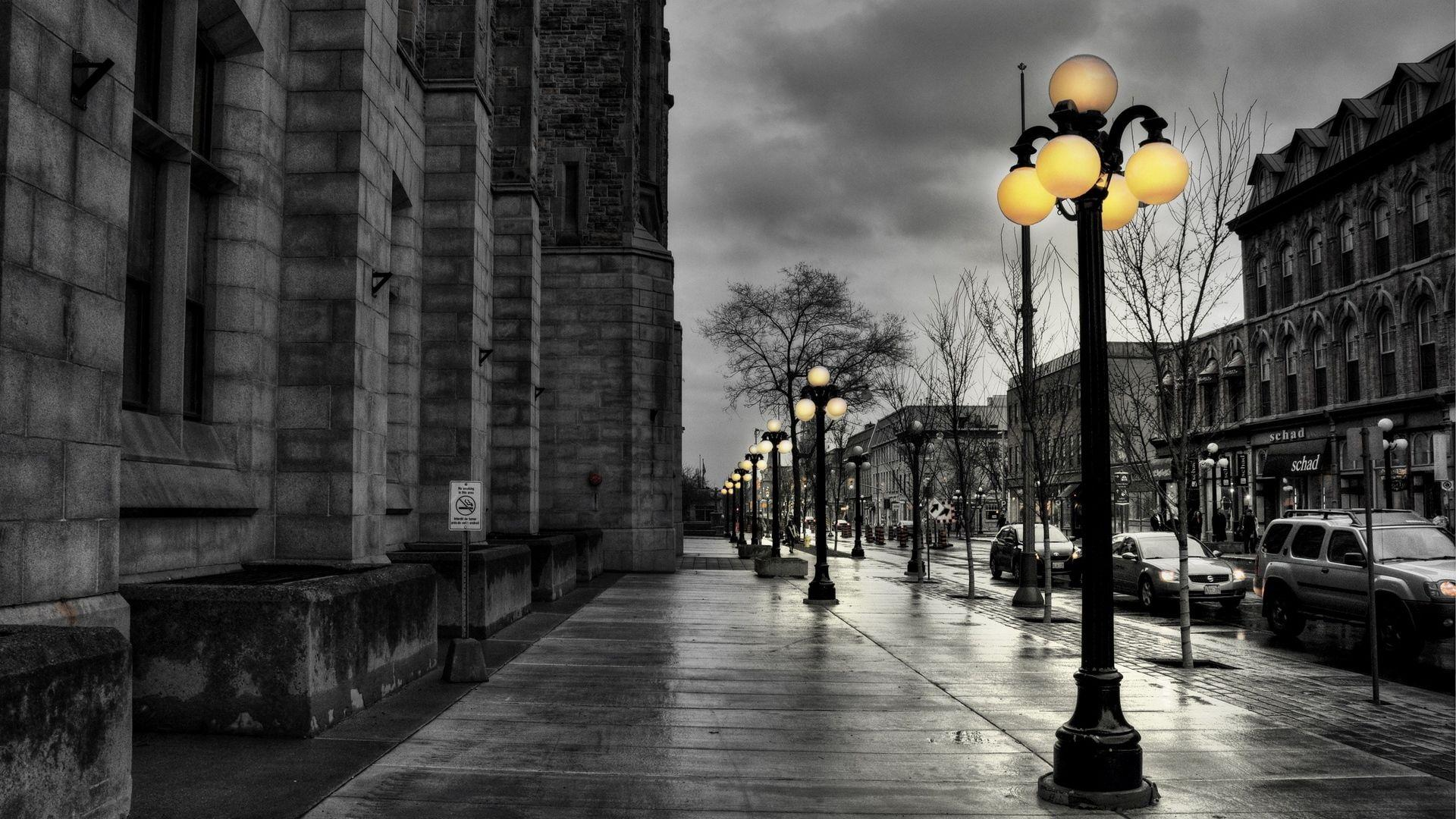 Download wallpapers 1920x1080 street, city, evening, black white