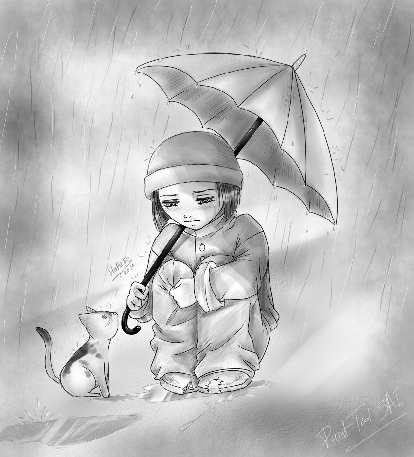28 collection of sad boy in rain drawing high quality free