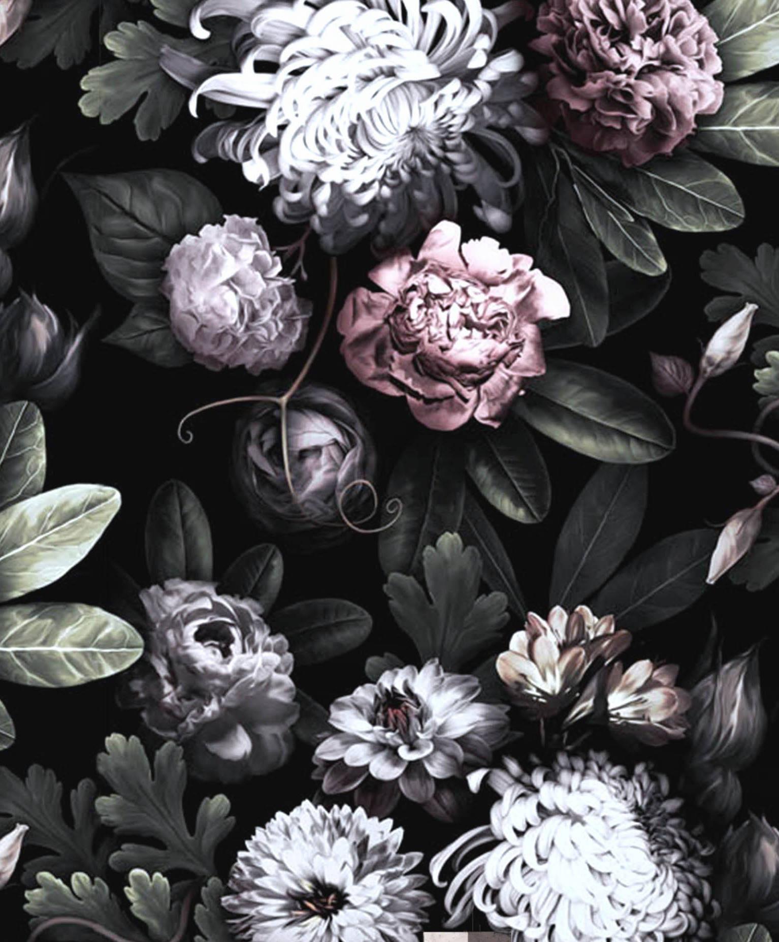 Black Floral Vintage Wallpapers - Wallpaper Cave