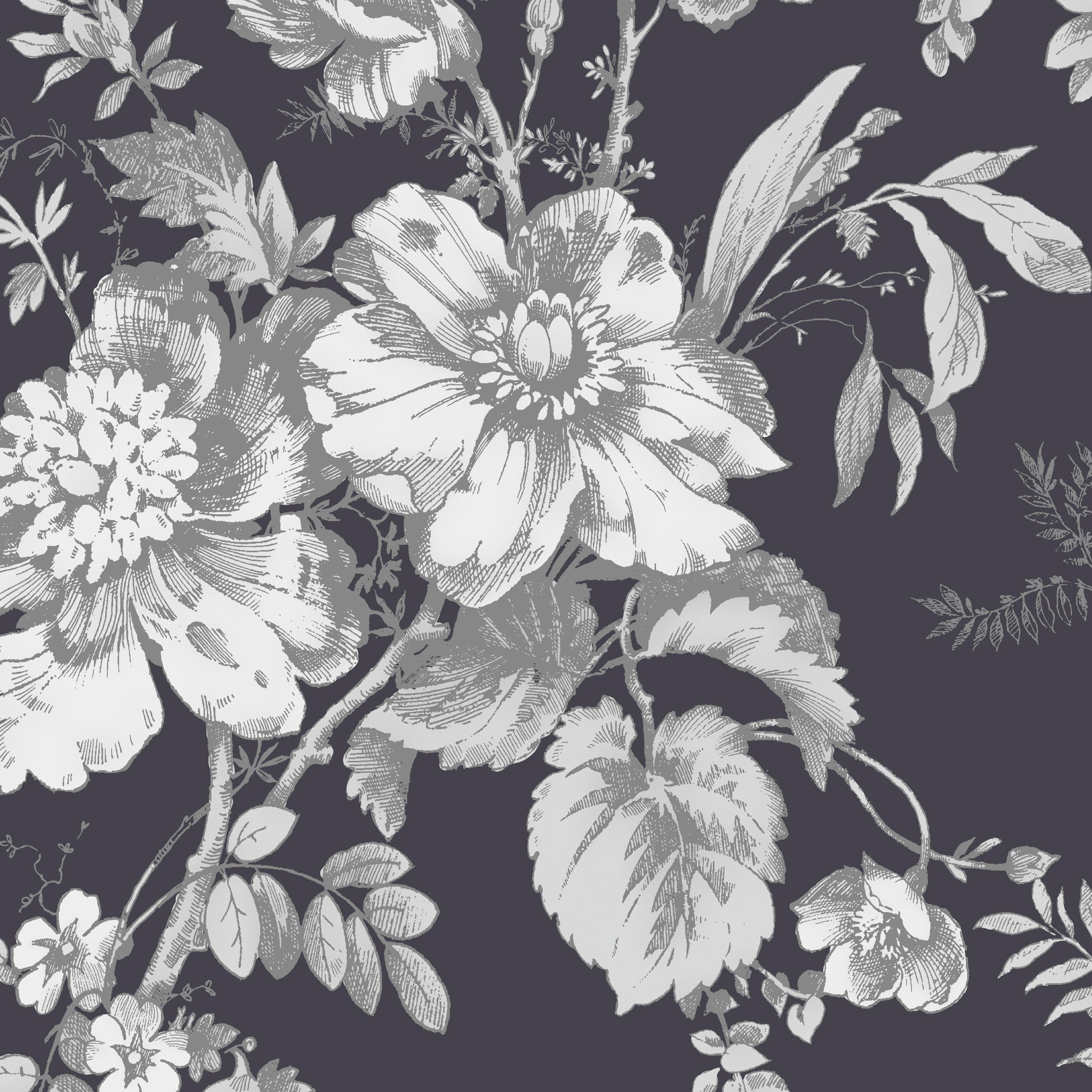 Black Floral Vintage Wallpapers Wallpaper Cave