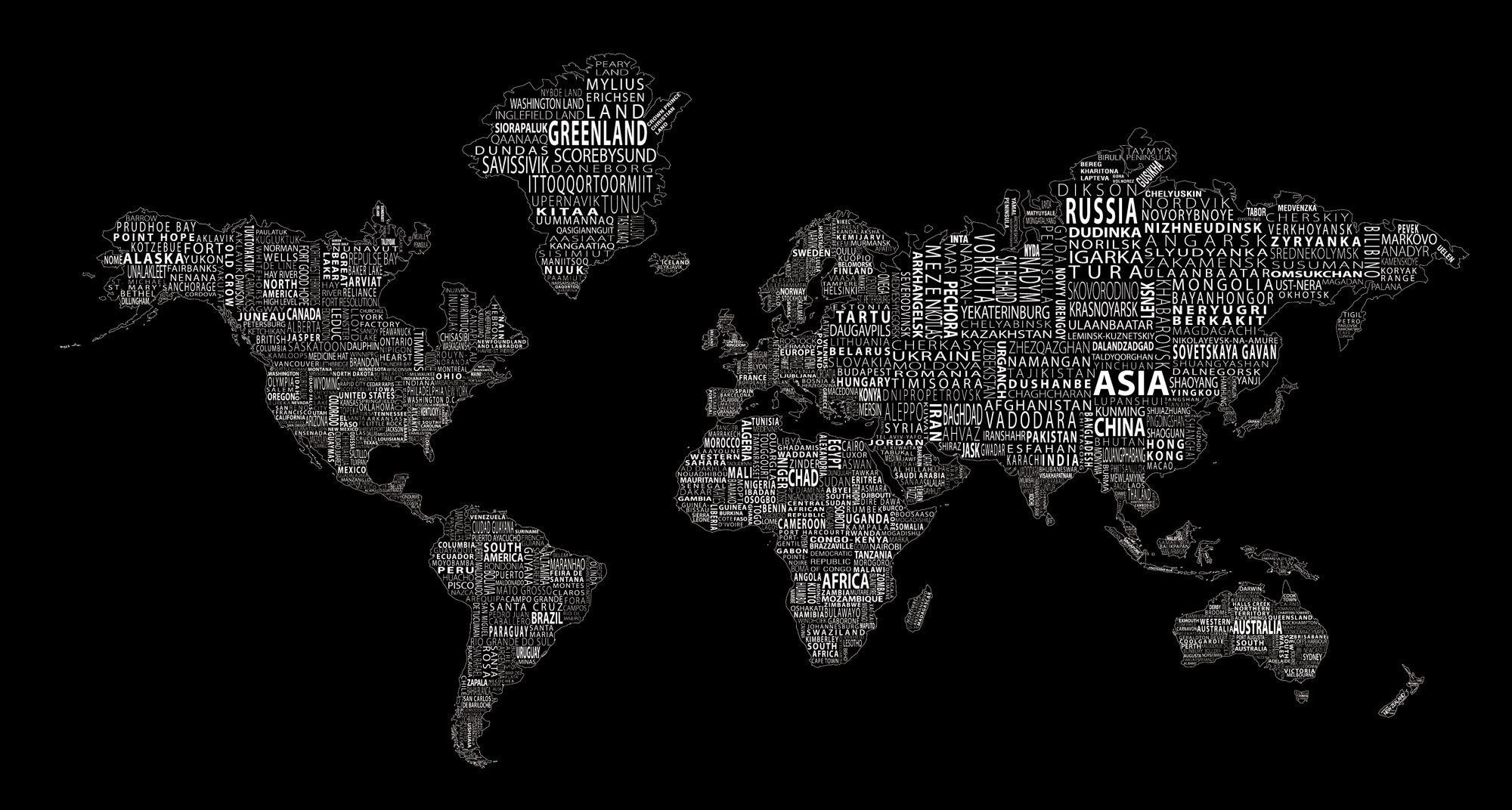 World Map Black Wallpapers Hd Wallpaper Cave